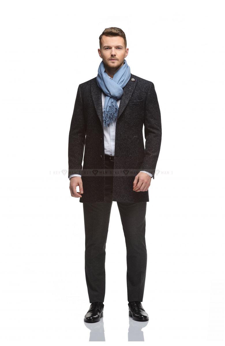 Пальто мужское темно-серое, гусиная лапка, итальянский лацкан