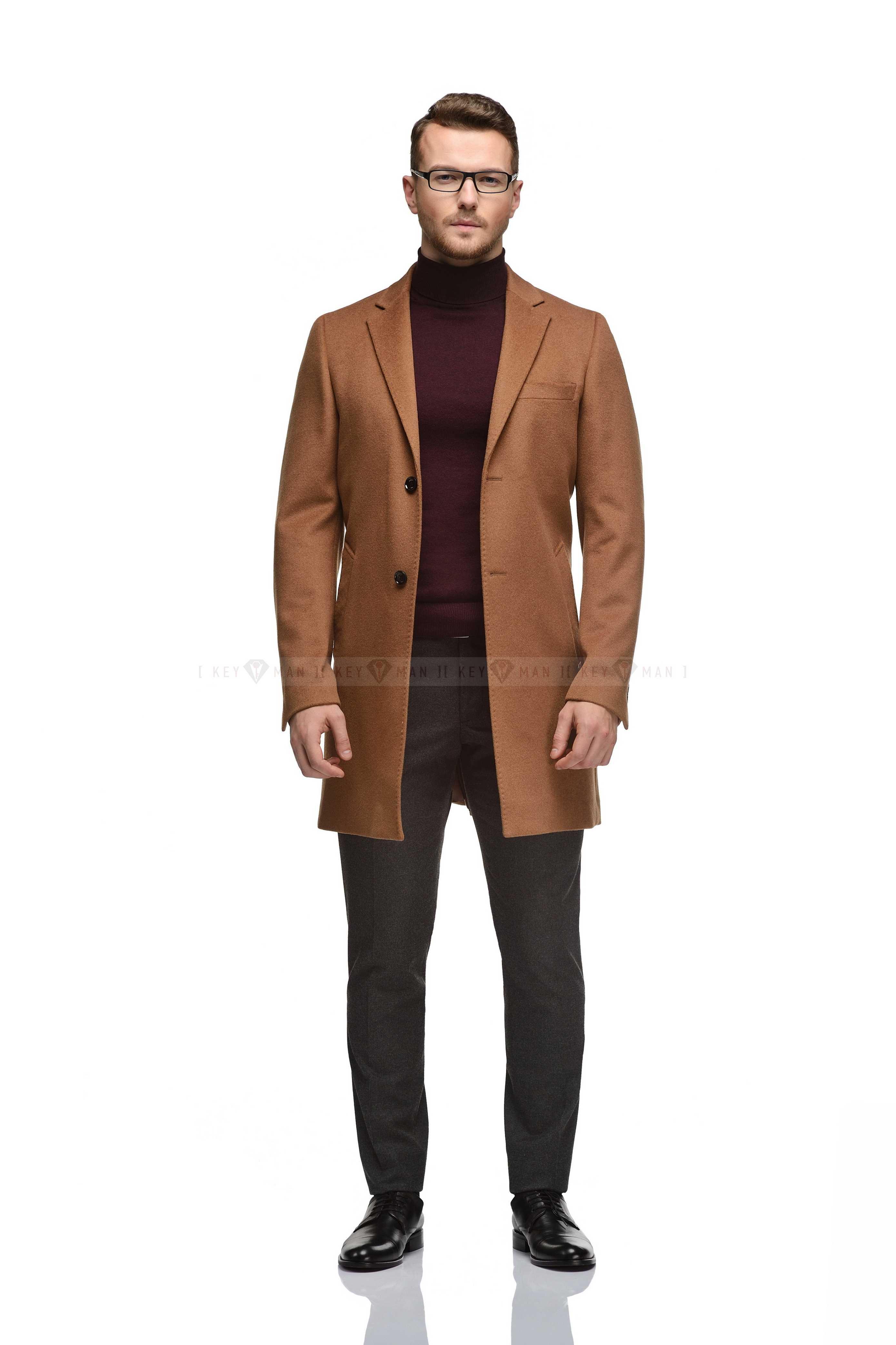 Пальто мужское рыжее (цвет camel), приталенное, демисезонное
