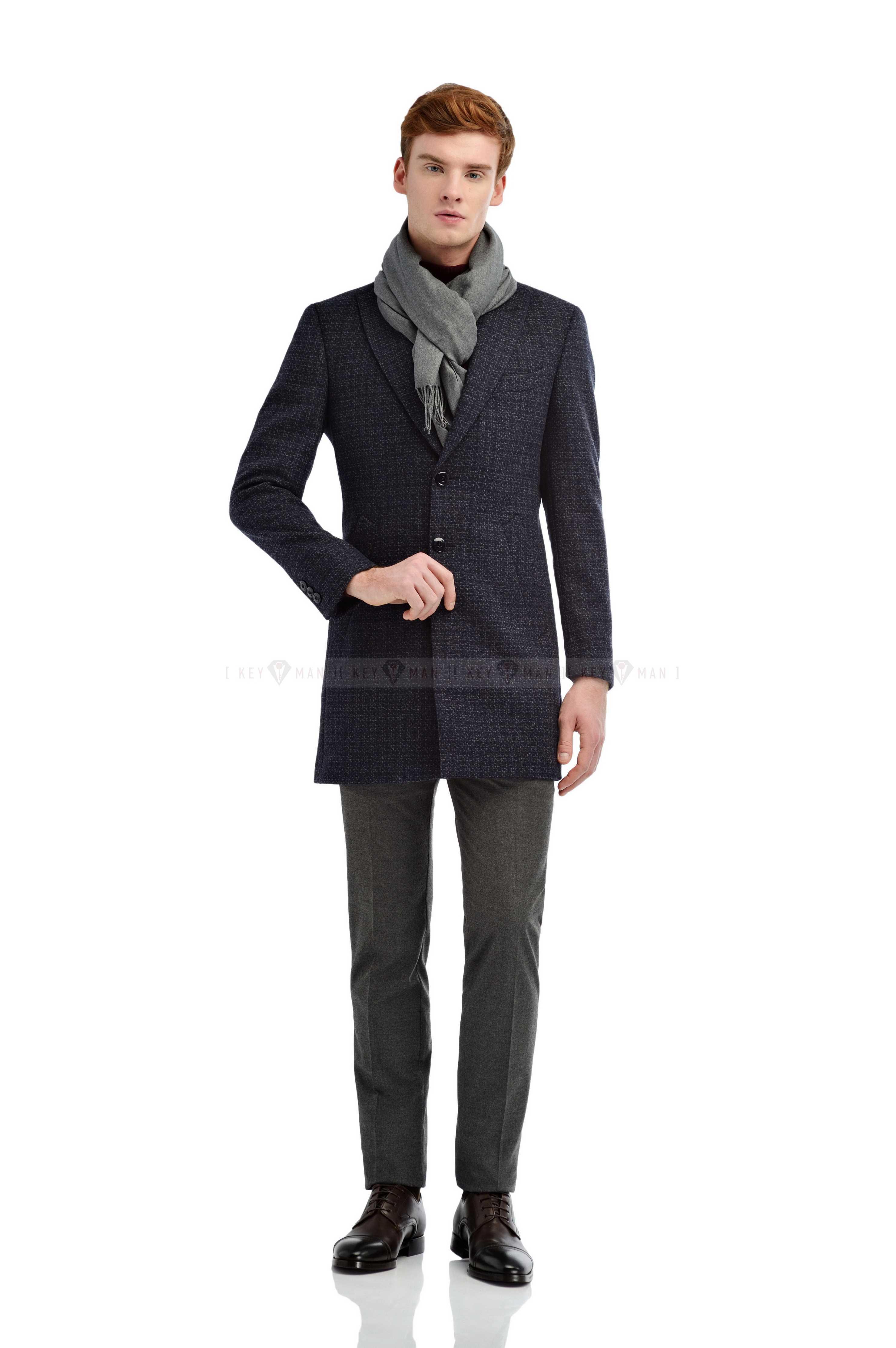 Пальто мужское сине-серое в клетку итальянский лацкан