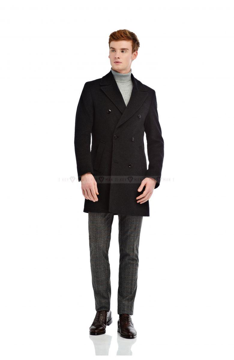 Пальто мужское двубортное серо-черная нитка буклированное