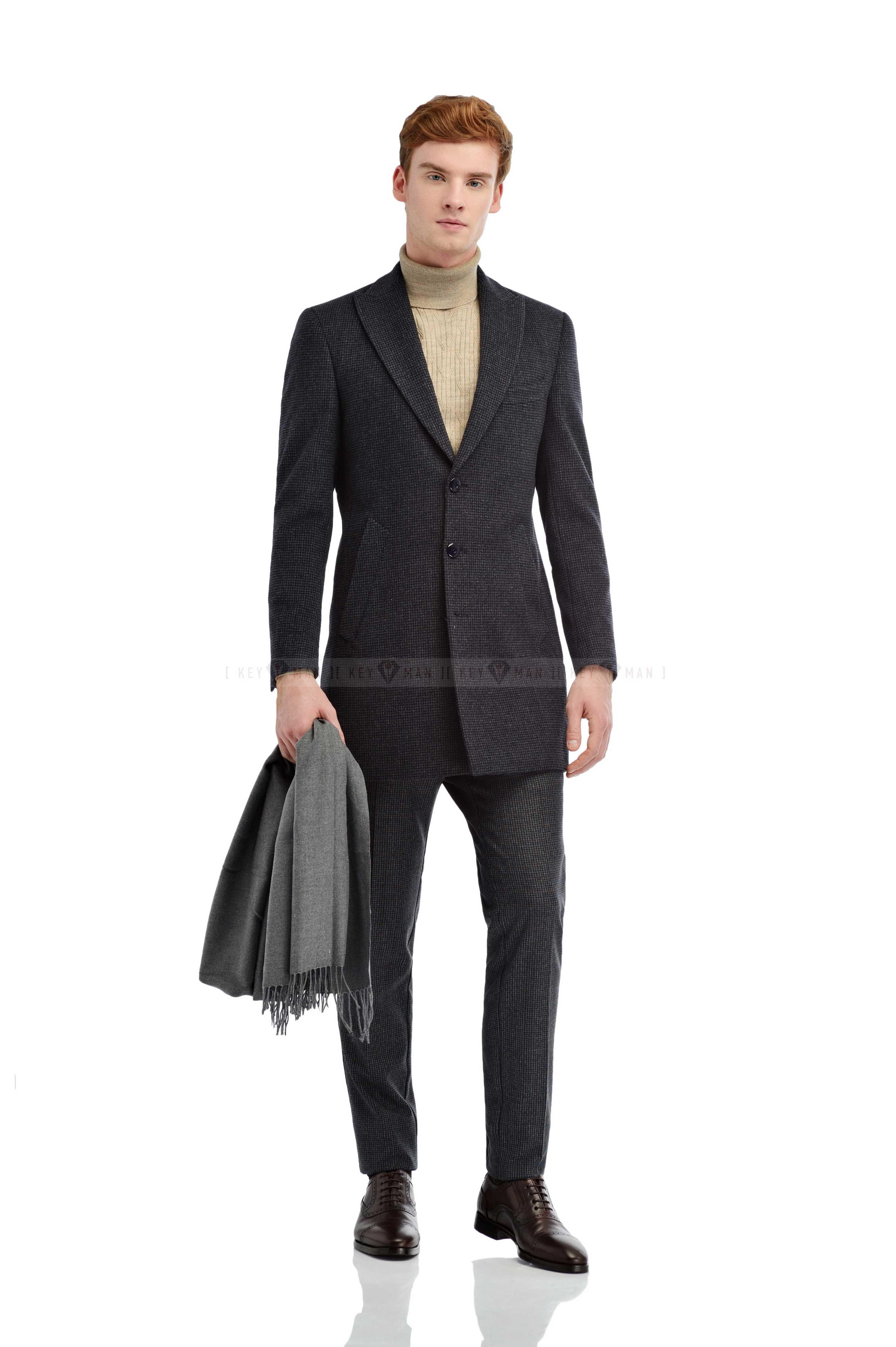 Пальто мужское серо-черное мелкая гусиная лапка итальянский лацкан