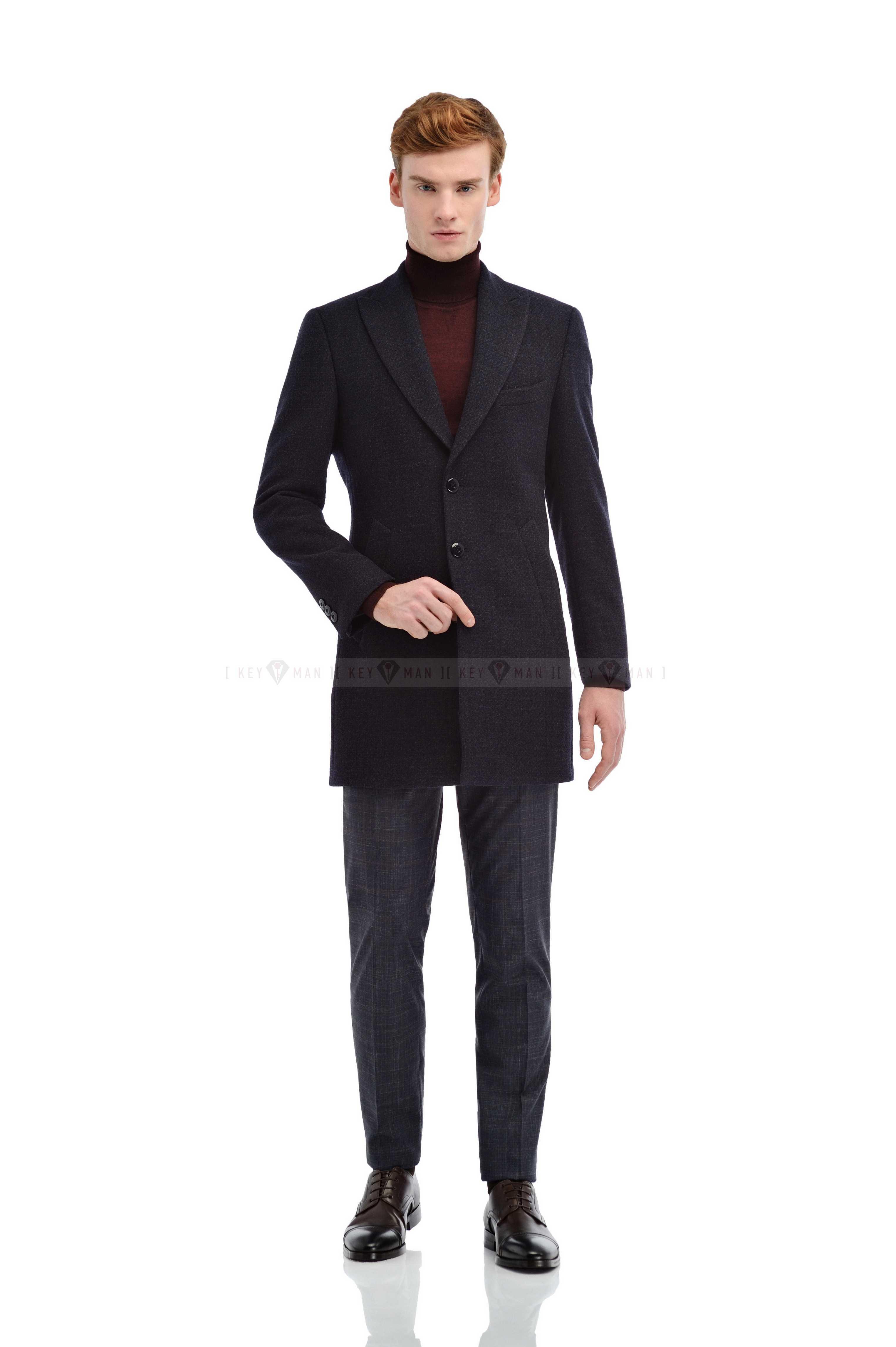 Пальто мужское синее с серо-бордовыми вкраплениями итальянский лацкан