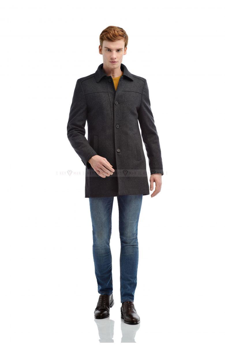Пальто мужское серое шерстяное утепленное мехом, рубашечный воротник отстегивается