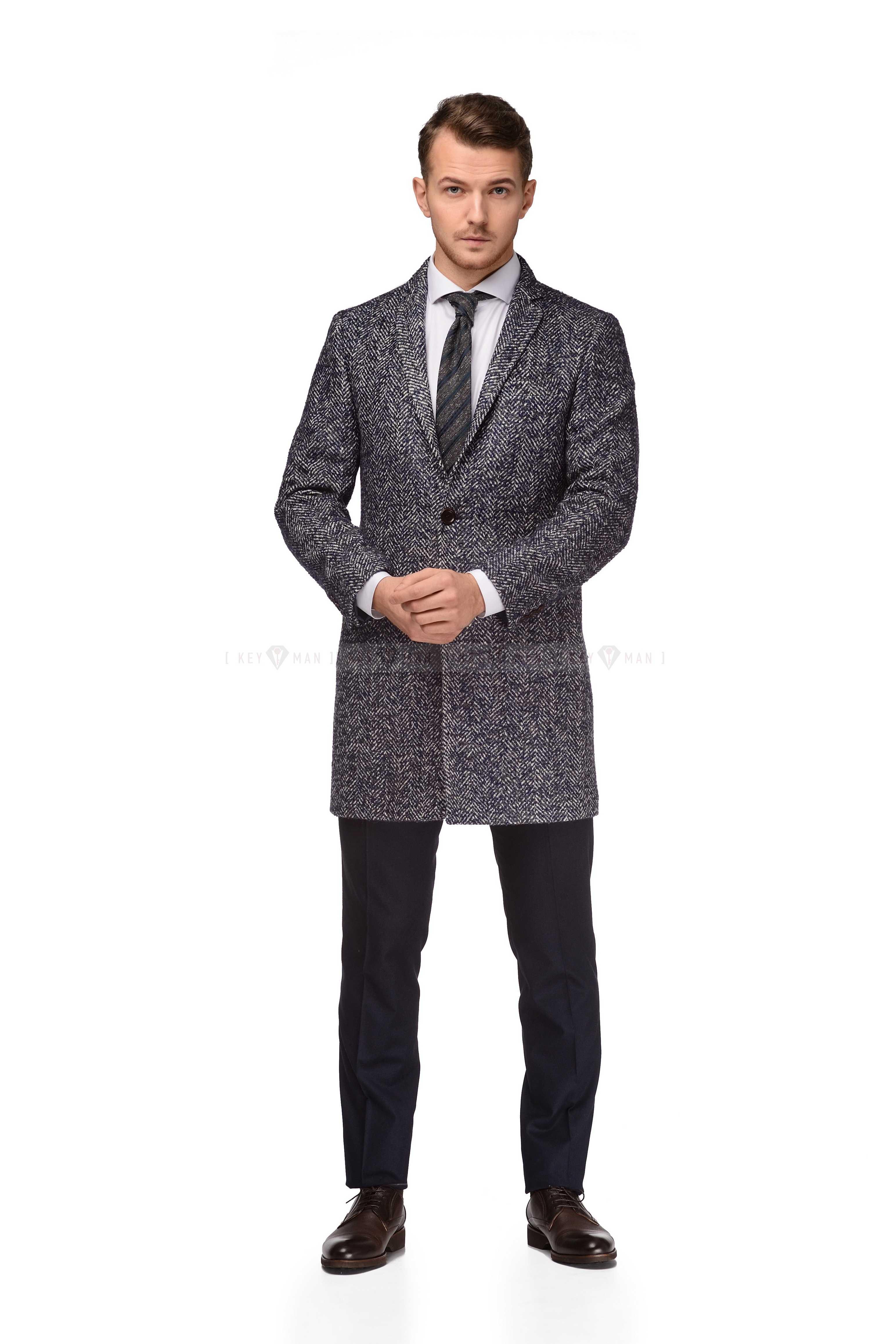 Пальто мужское сине-белое шерстяное, объемное полотно