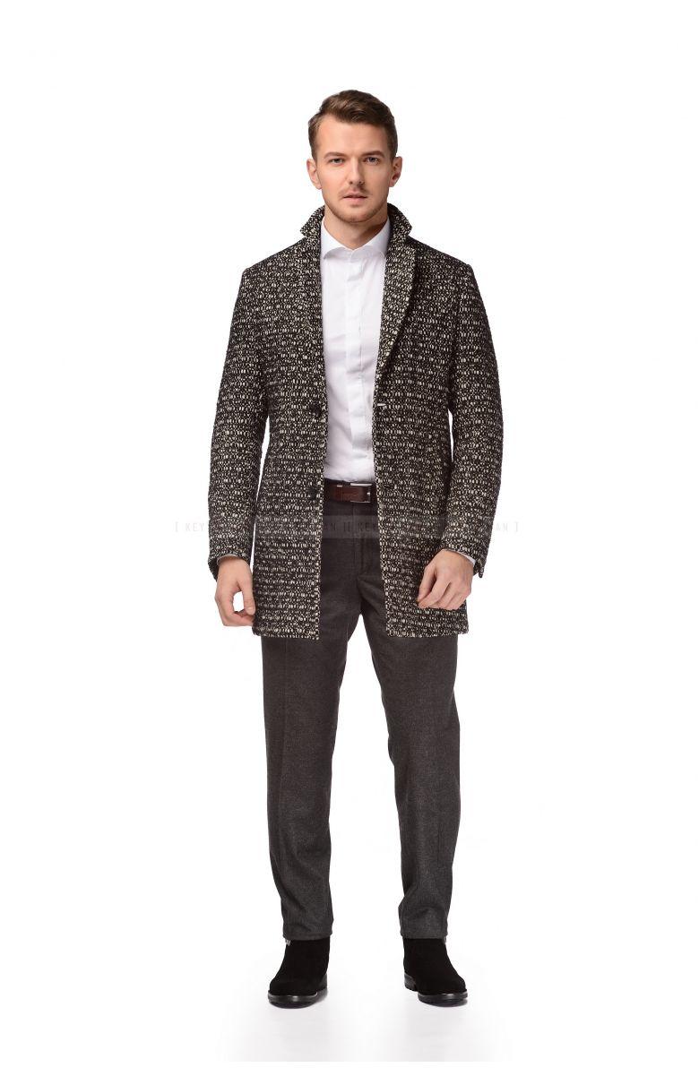Пальто мужское черно-белое с ветровой планкой