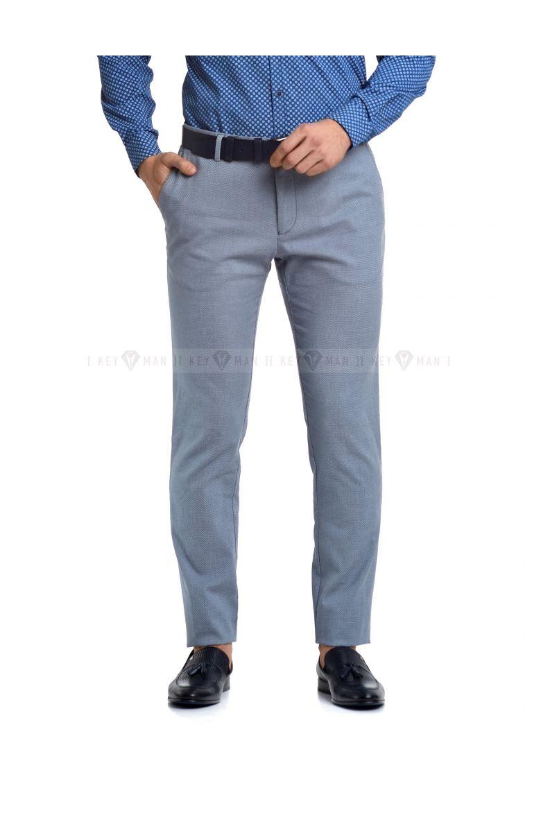 Брюки мужские голубые, фактурный хлопок