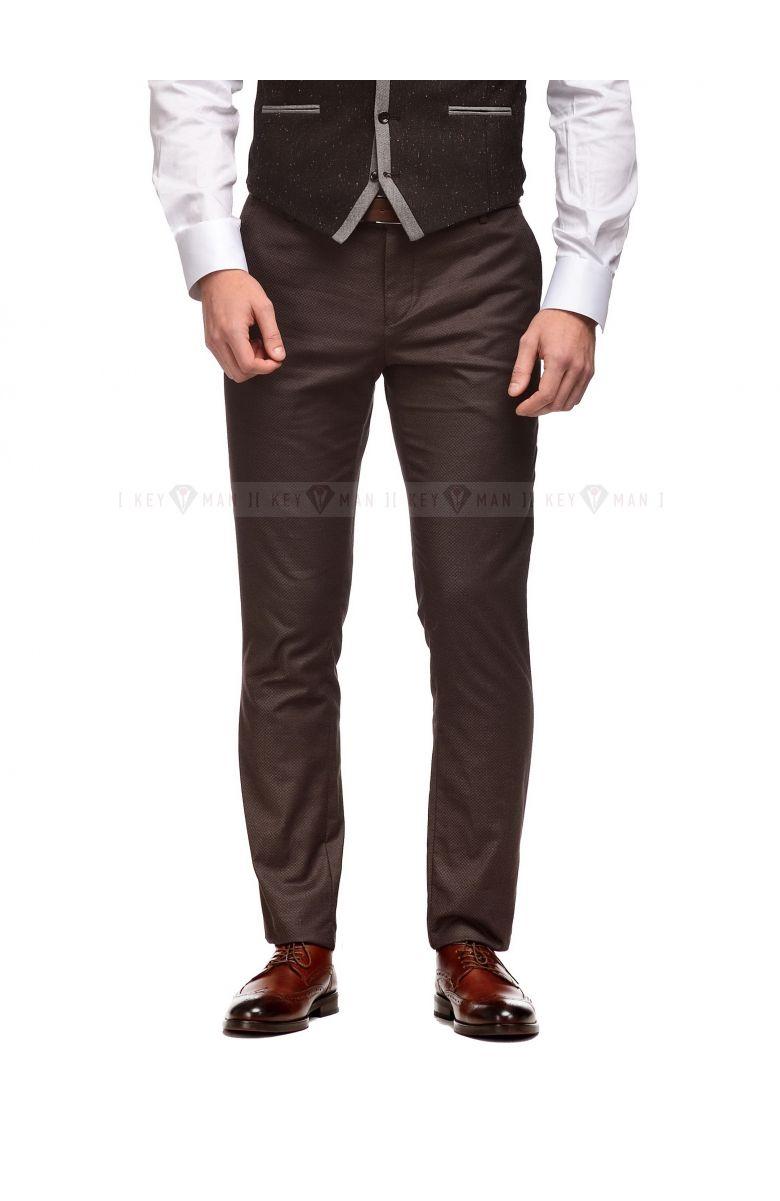 Брюки мужские коричневые в плетеную фактуру