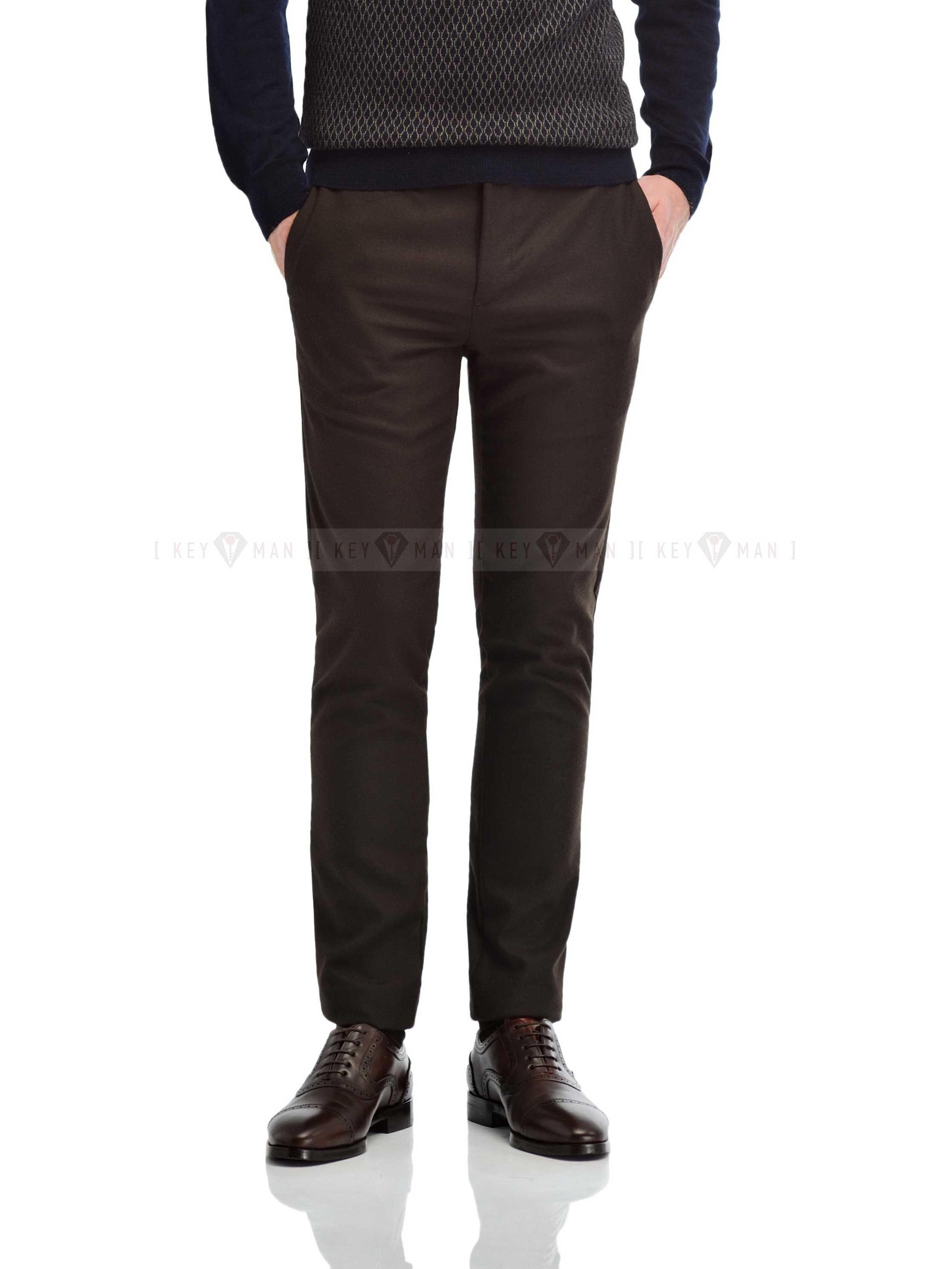 Брюки мужские чинос темно-коричневые из плотной ткани осень-зима