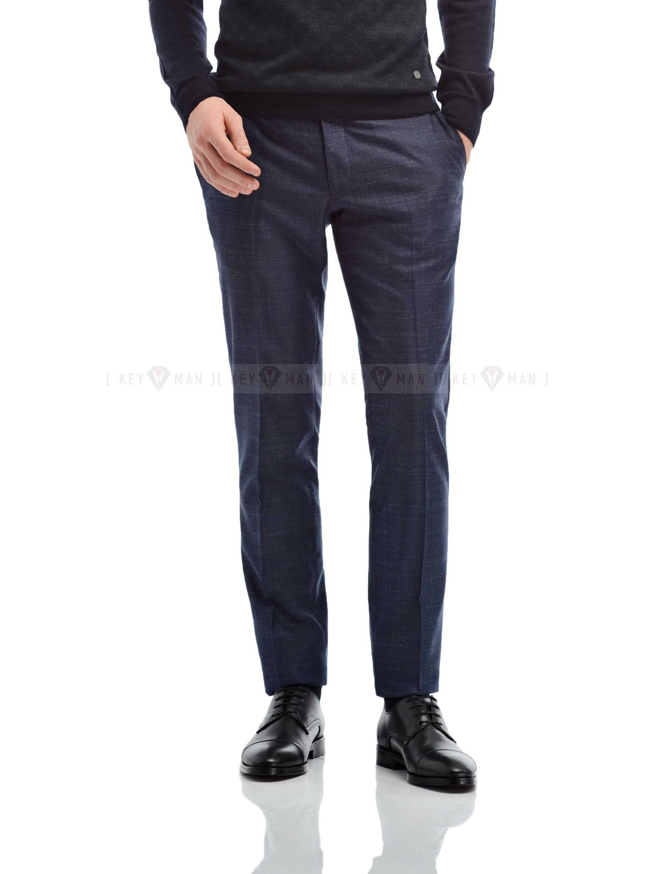 Брюки мужские синие с вплетенной белой нитью