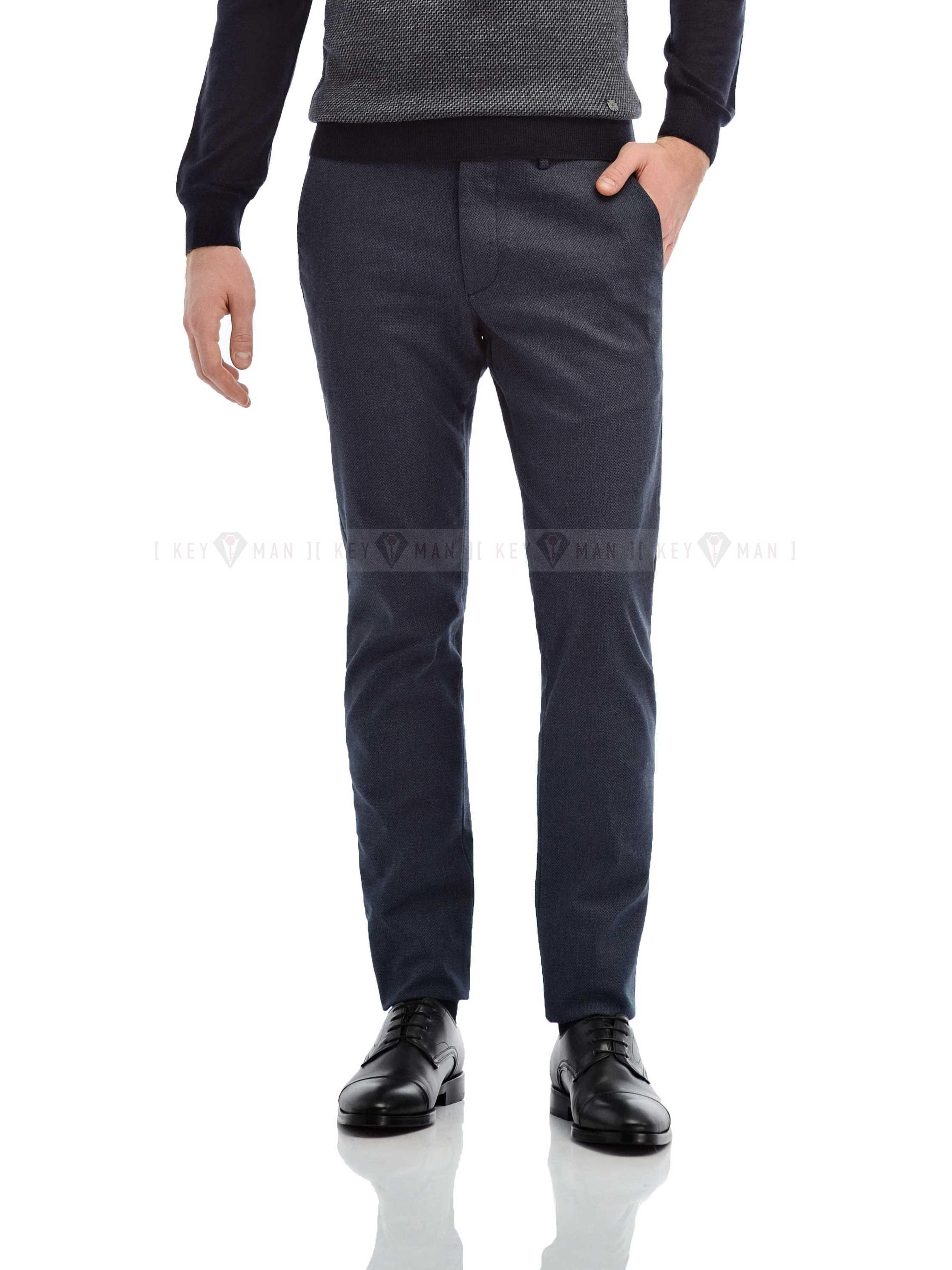 Брюки мужские чинос сине-серые фактурные