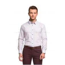 Рубашка мужская белая в красно-синий узор