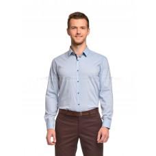 Рубашка мужская голубая в сине-красный узор
