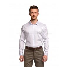 Рубашка мужская белая в голубую точку (сатин)