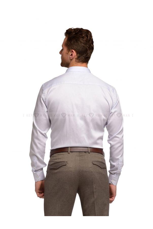 Рубашка мужская белая в голубую точку