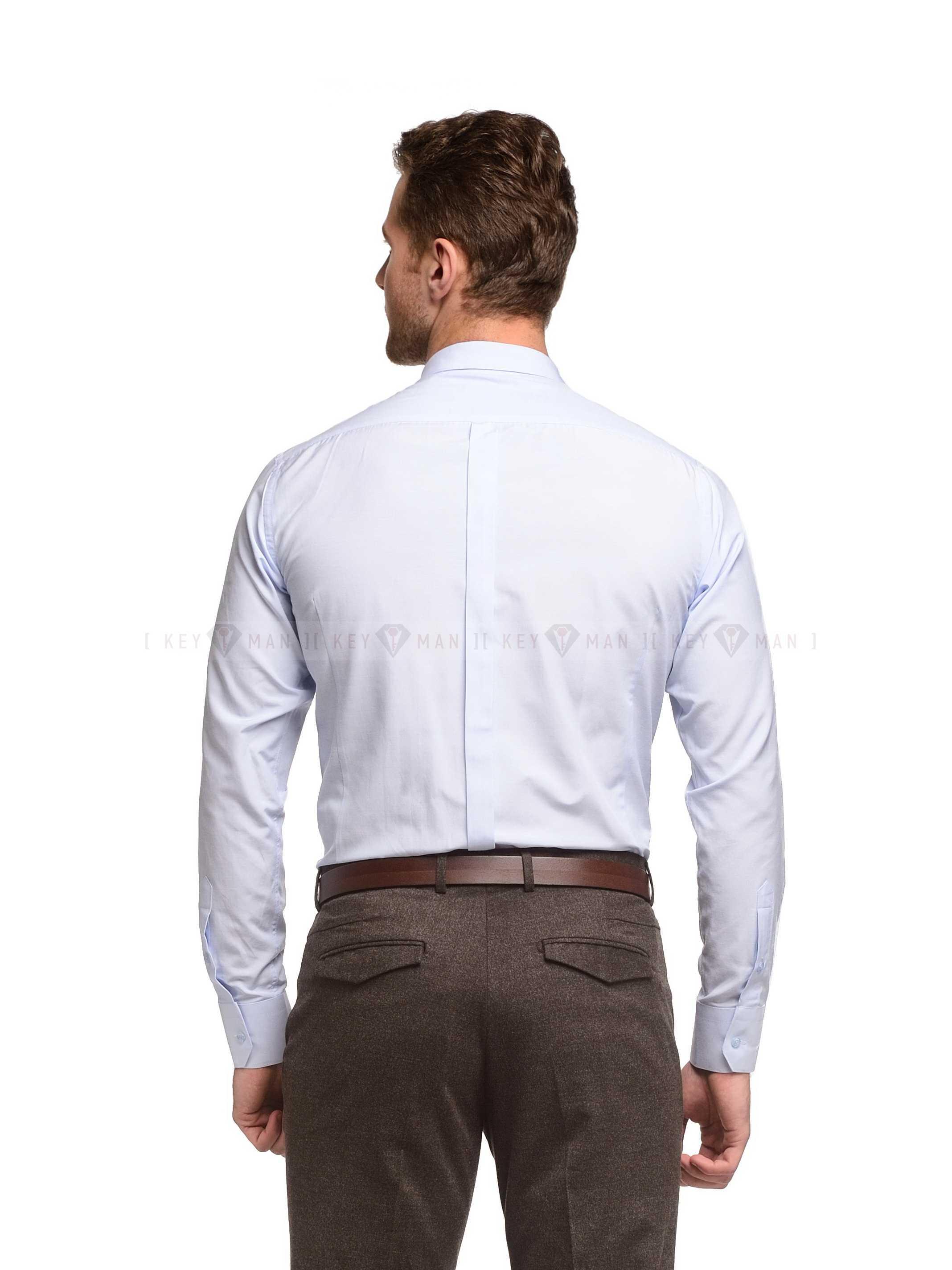 Рубашка мужская голубая (короткий воротник)