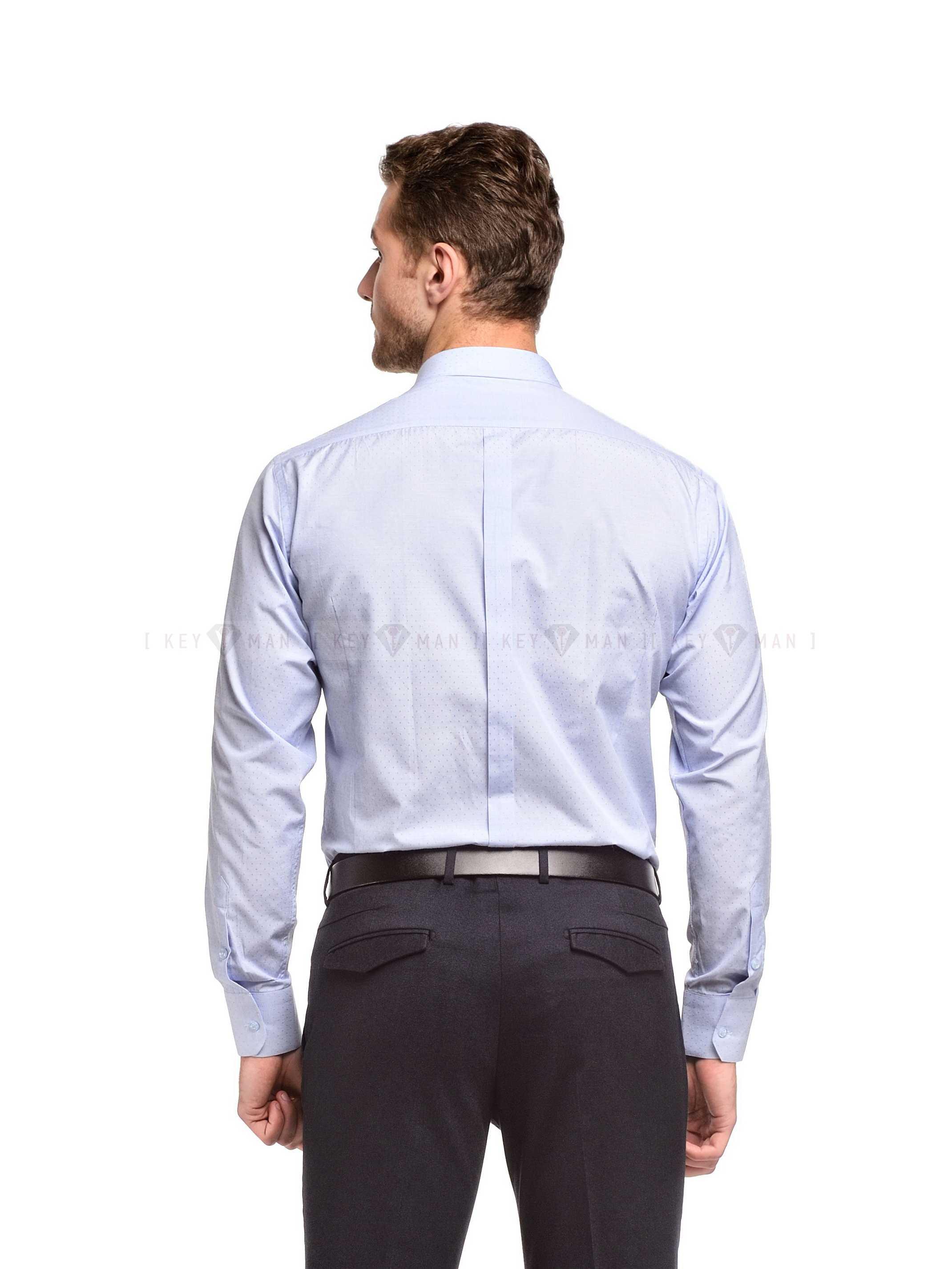 Рубашка мужская голубая в синюю точку (короткий воротник)