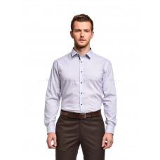 Рубашка мужская белая в голубо-синий узор