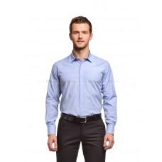 Рубашка мужская голубая в белый рисунок (короткий воротник)