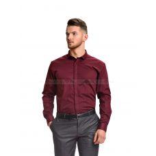 Рубашка мужская бордовая однотонная