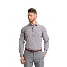 Рубашка мужская бежевая в мелкий горох