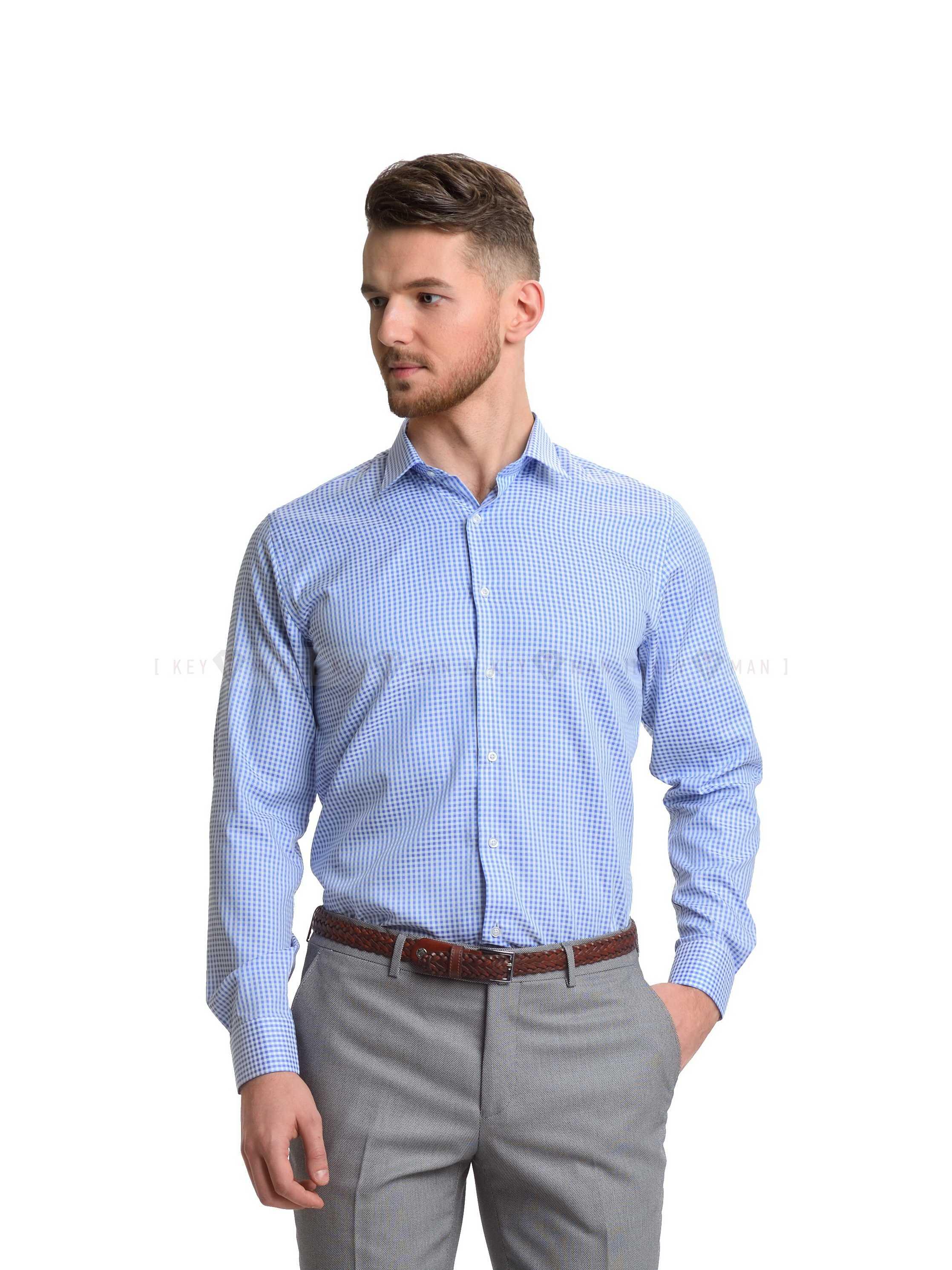 Рубашка мужская голубая в клетку