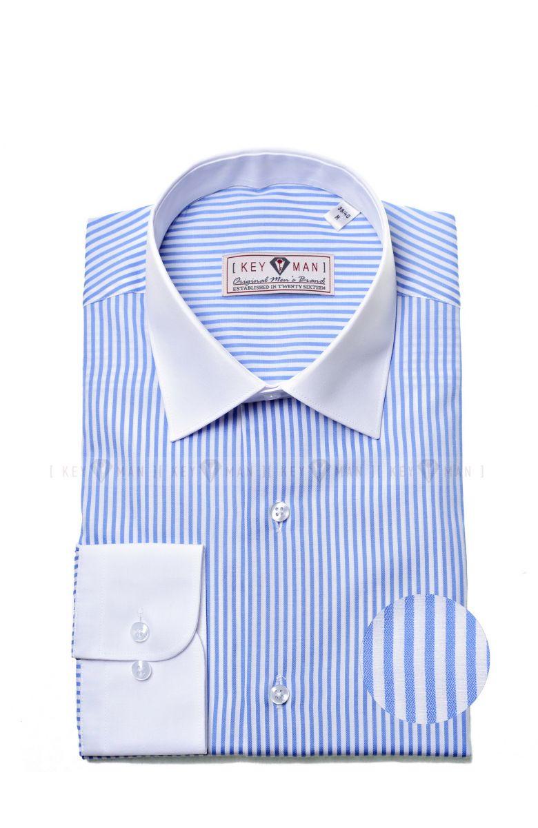 Рубашка мужская в голубую полоску с белым воротничком и манжетами