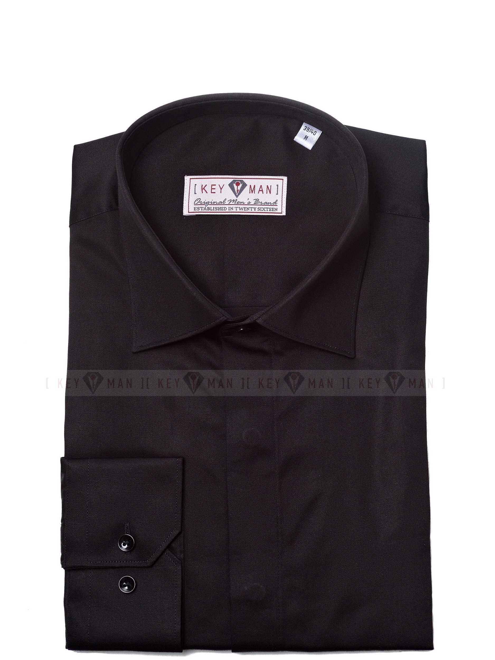 Рубашка мужская черная сатин