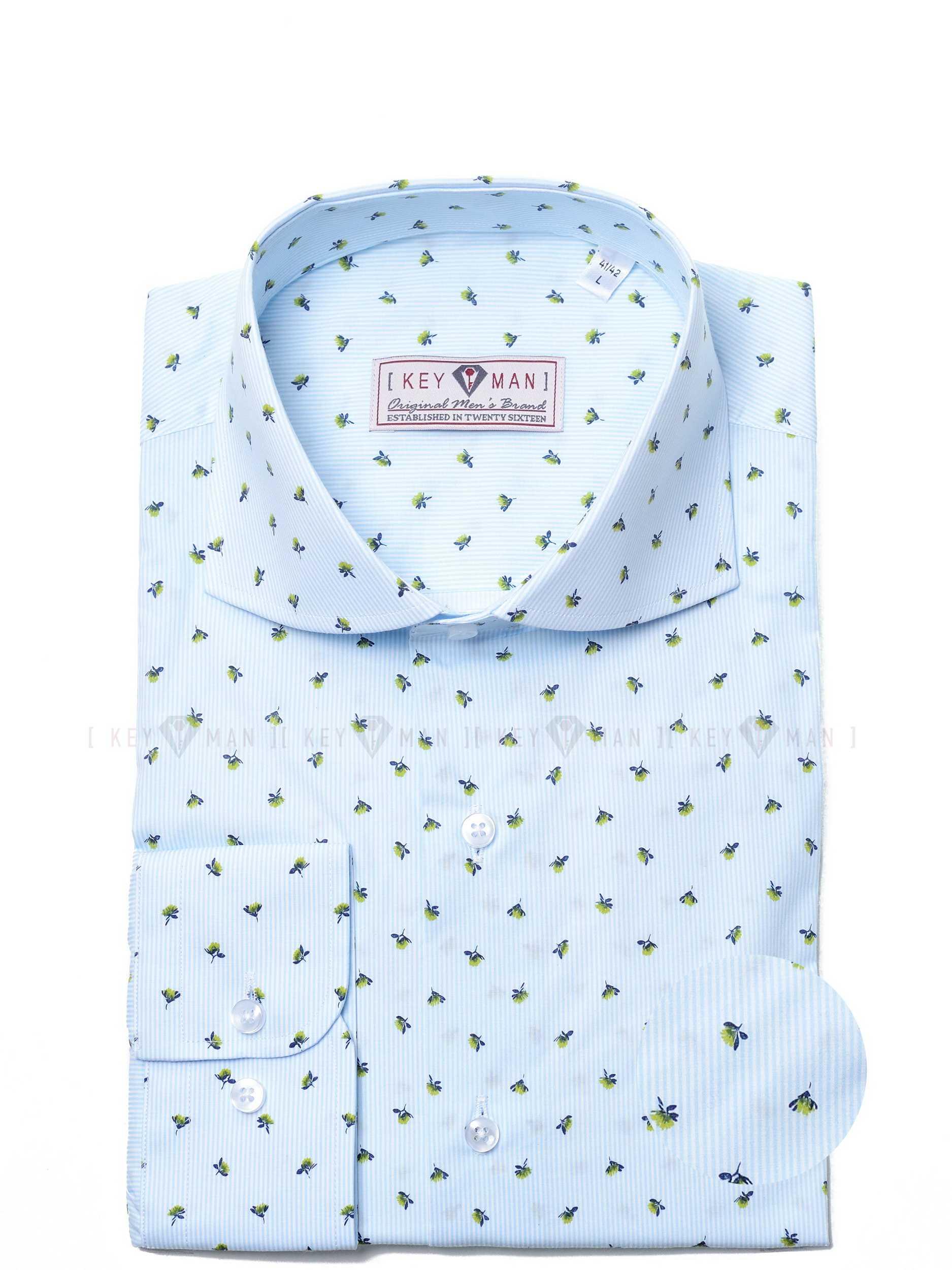 Рубашка мужская белая в мелкую мятную полоску с акульим воротником (рисунок цветы) Curved cutaway collar