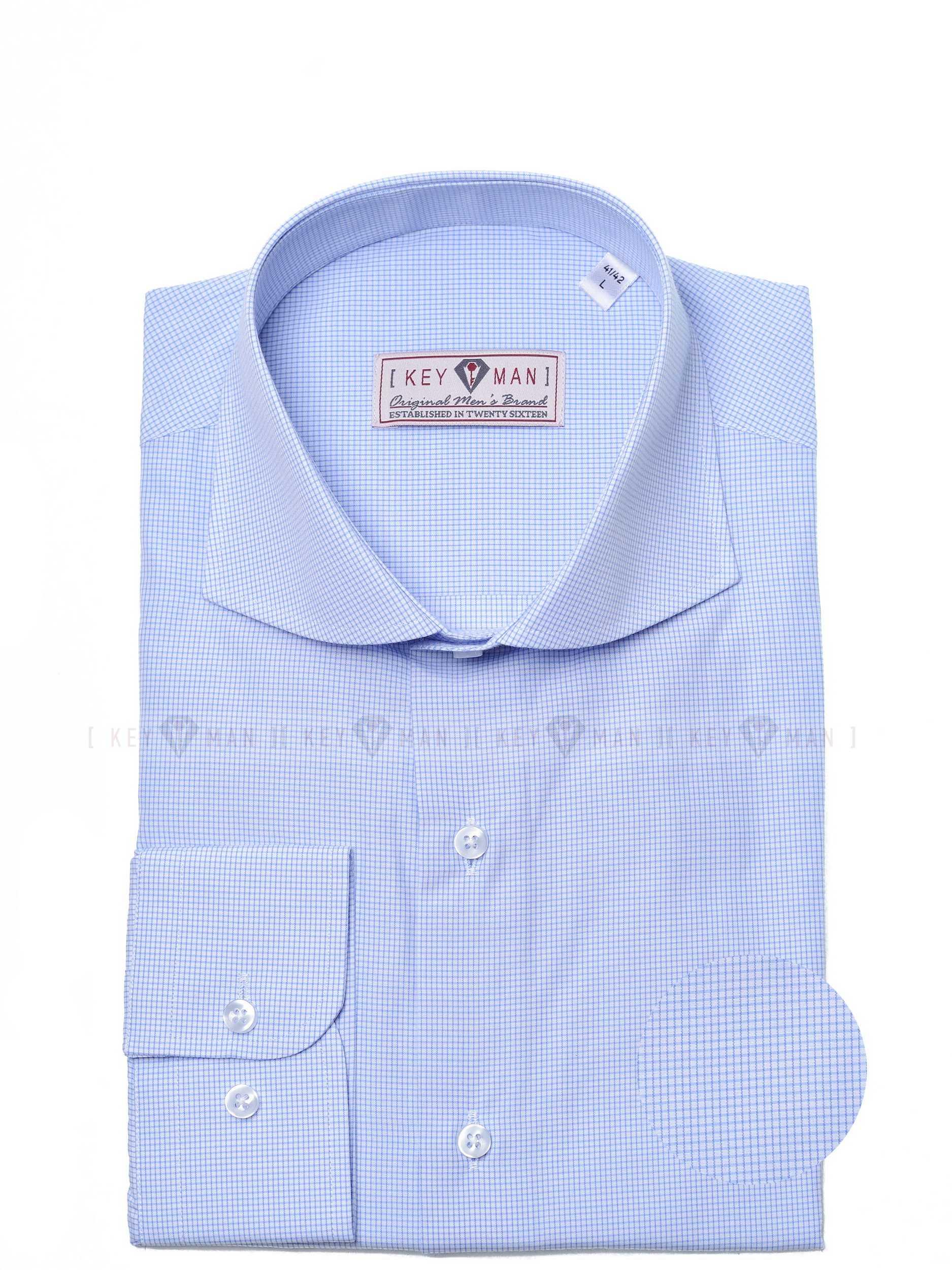 Рубашка мужская белая с акульим воротником в мелкую голубую клетку (Curved cutaway collar)