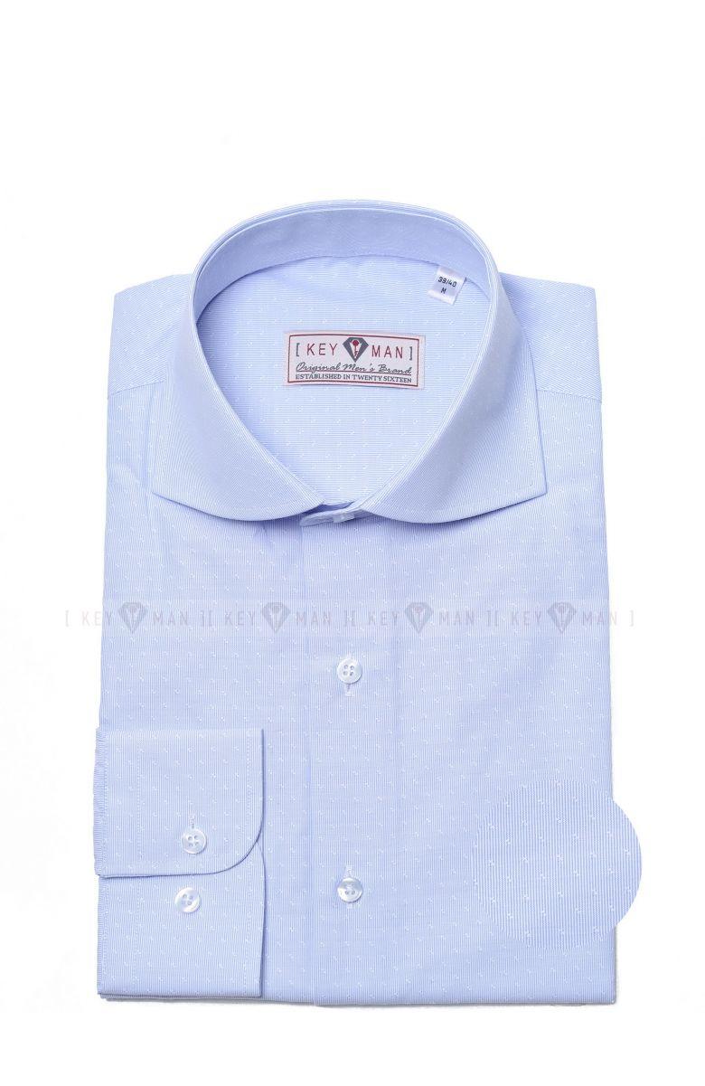 Рубашка мужская бело-голубая в полоску с акульим воротником (белый узор) Curved cutaway collar