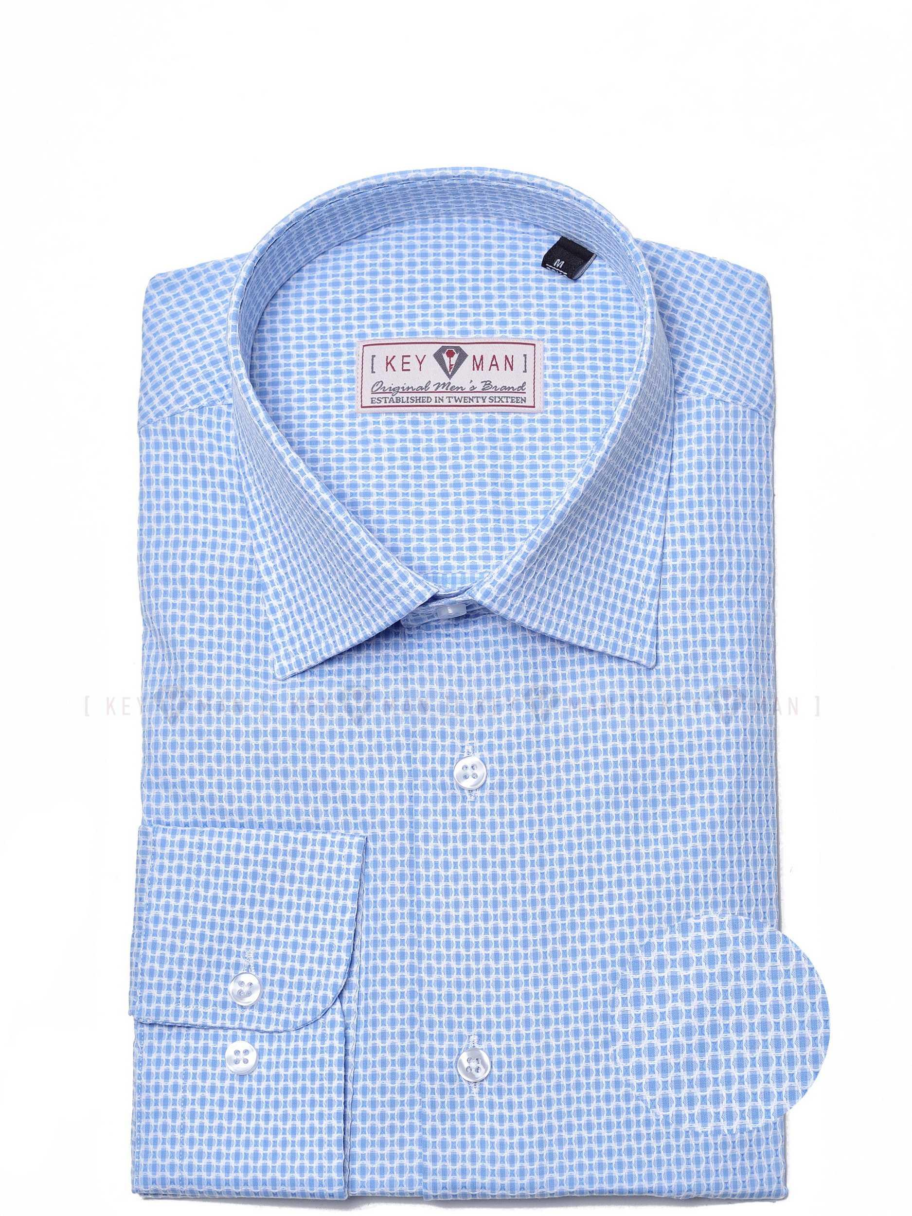 Рубашка мужская голубая с белым плетением