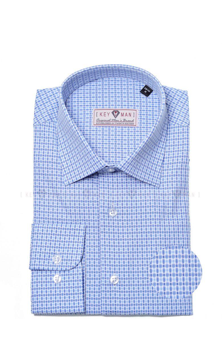 Рубашка мужская синяя с белым плетением