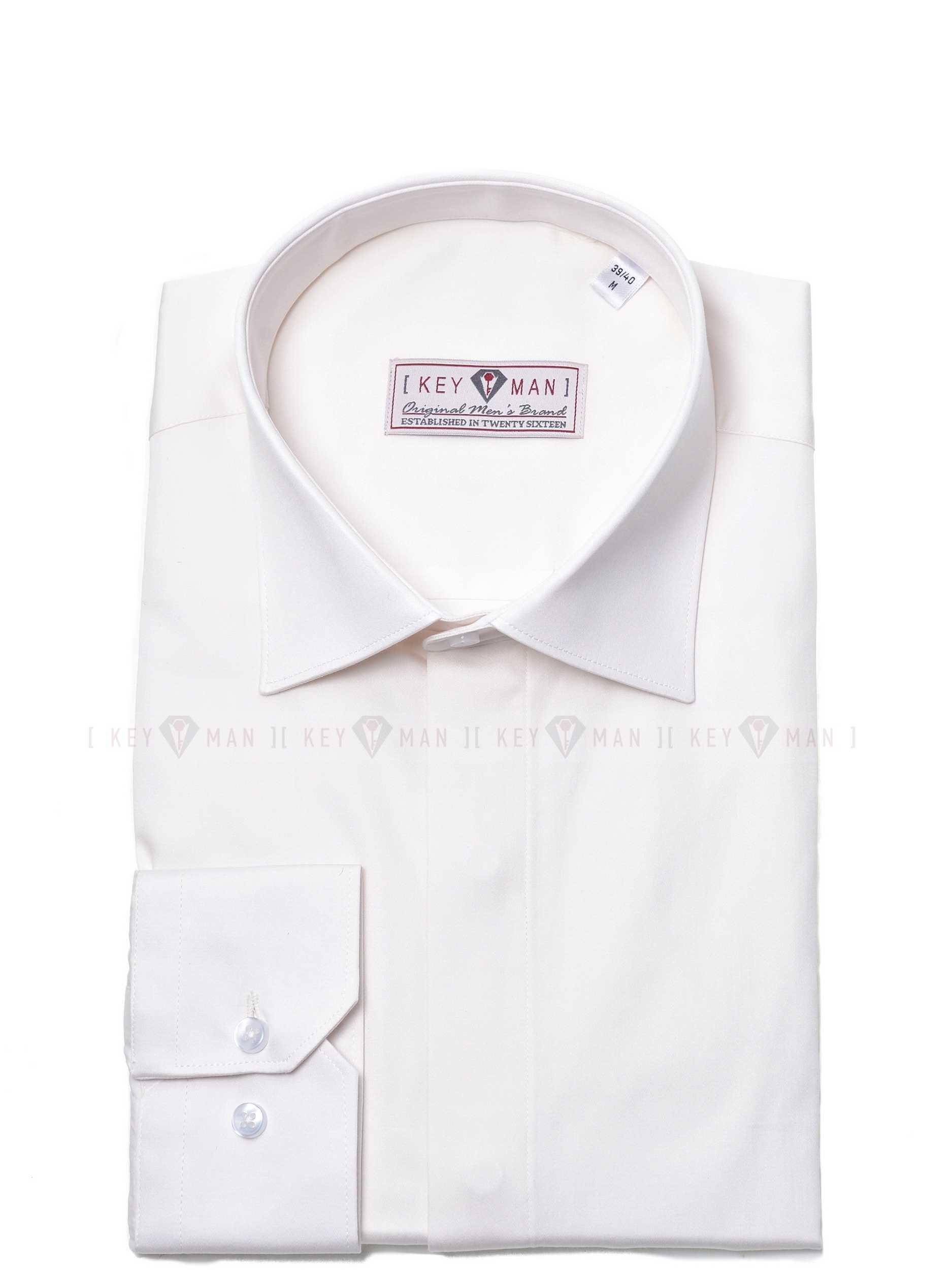 Рубашка мужская айвори сатин закрытая планка