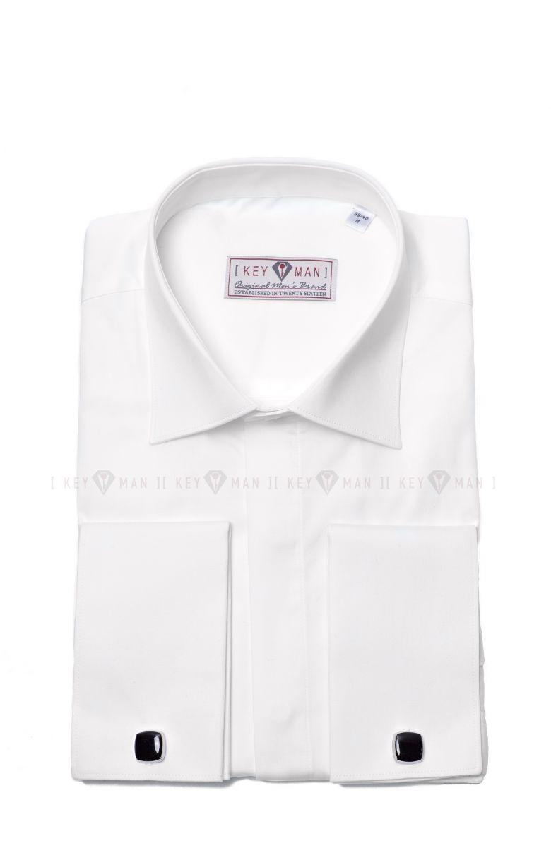 Рубашка мужская айвори сатин под запонку