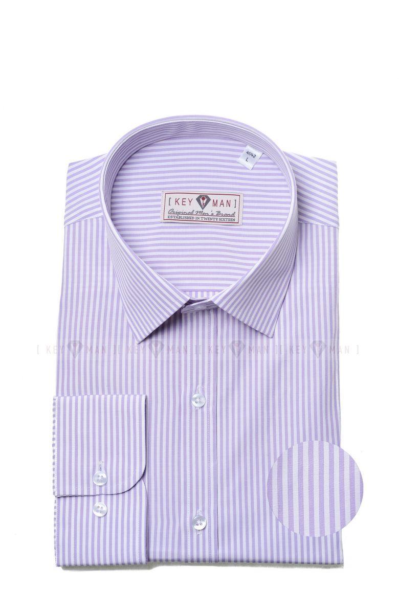 Рубашка мужская в сиреневую полоску