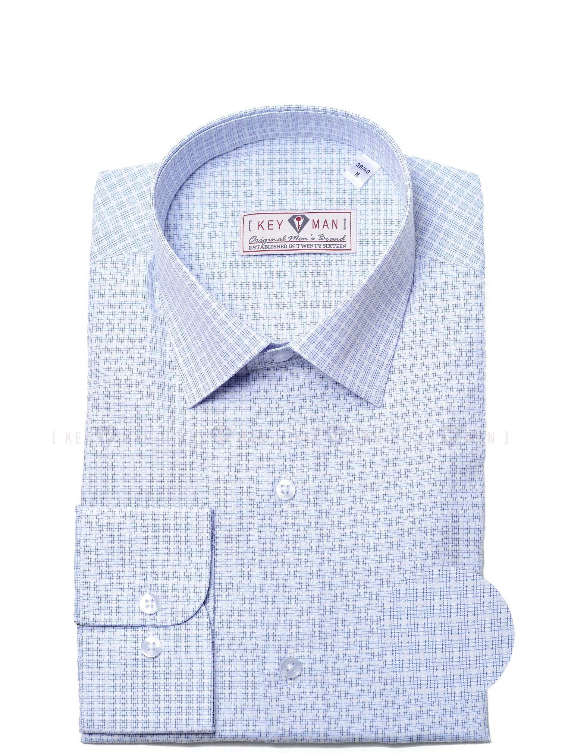 Рубашка мужская белая в голубой клетчатый узор