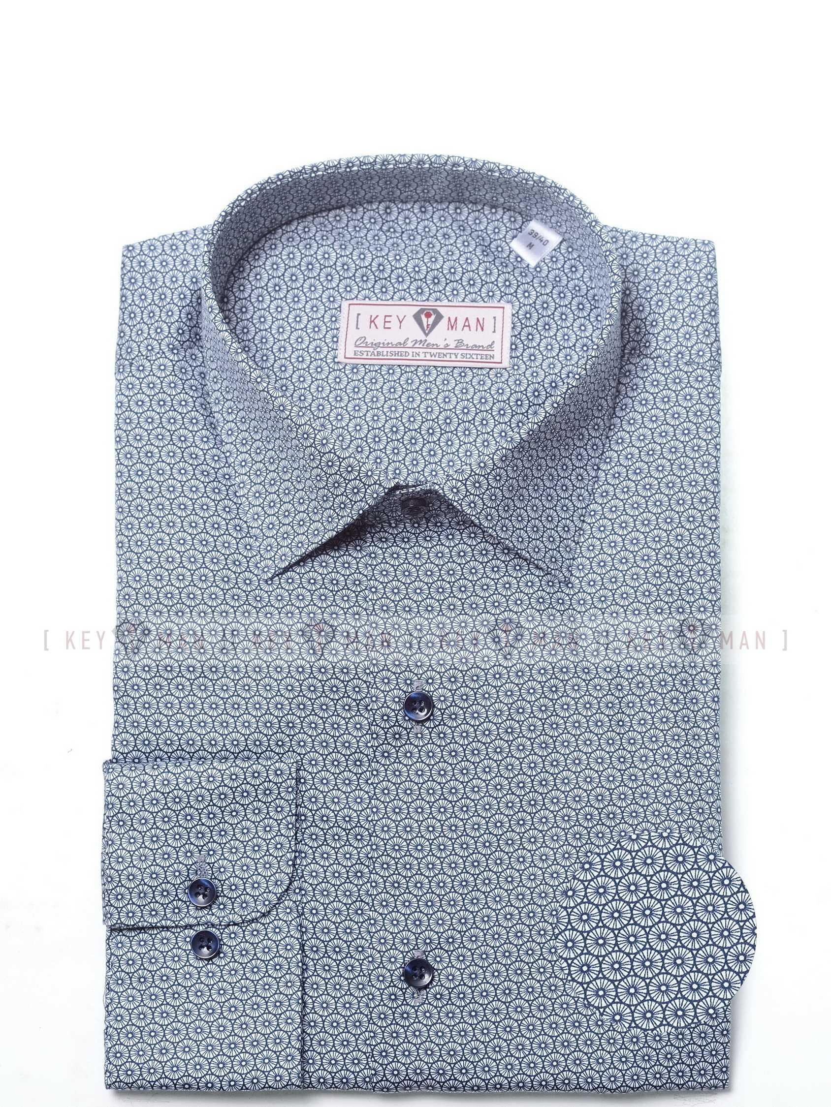 Рубашка мужская белая в темно-синие круги