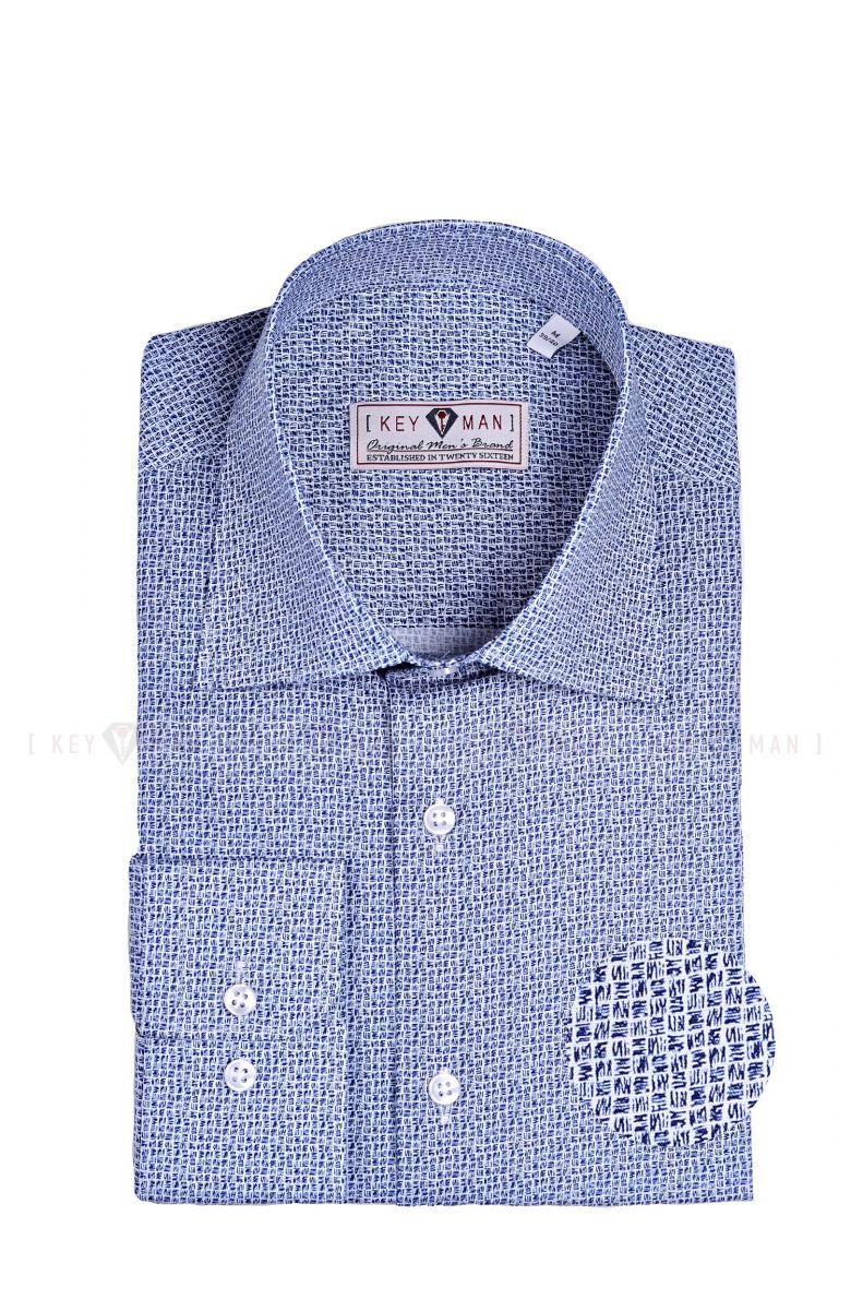 Рубашка мужская синяя в мелкие квадраты с лайкрой, классика воротник