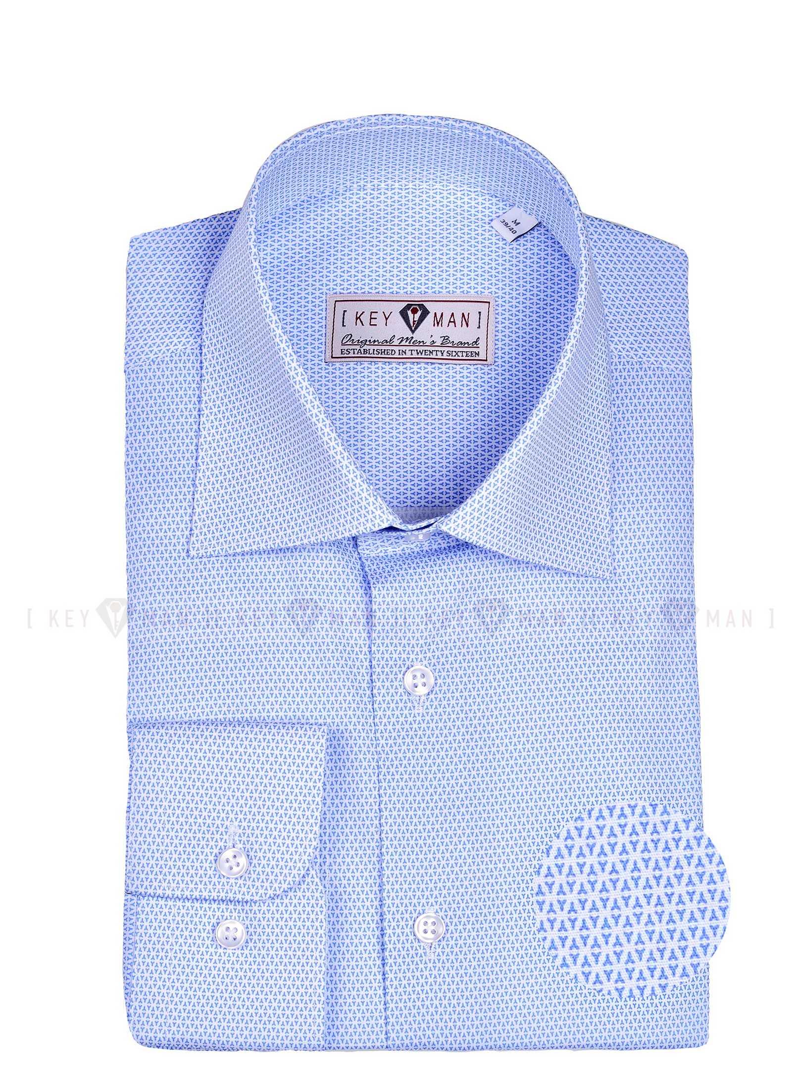 Рубашка мужская белая в мелкий треугольный голубой узор с лайкрой, классика воротник