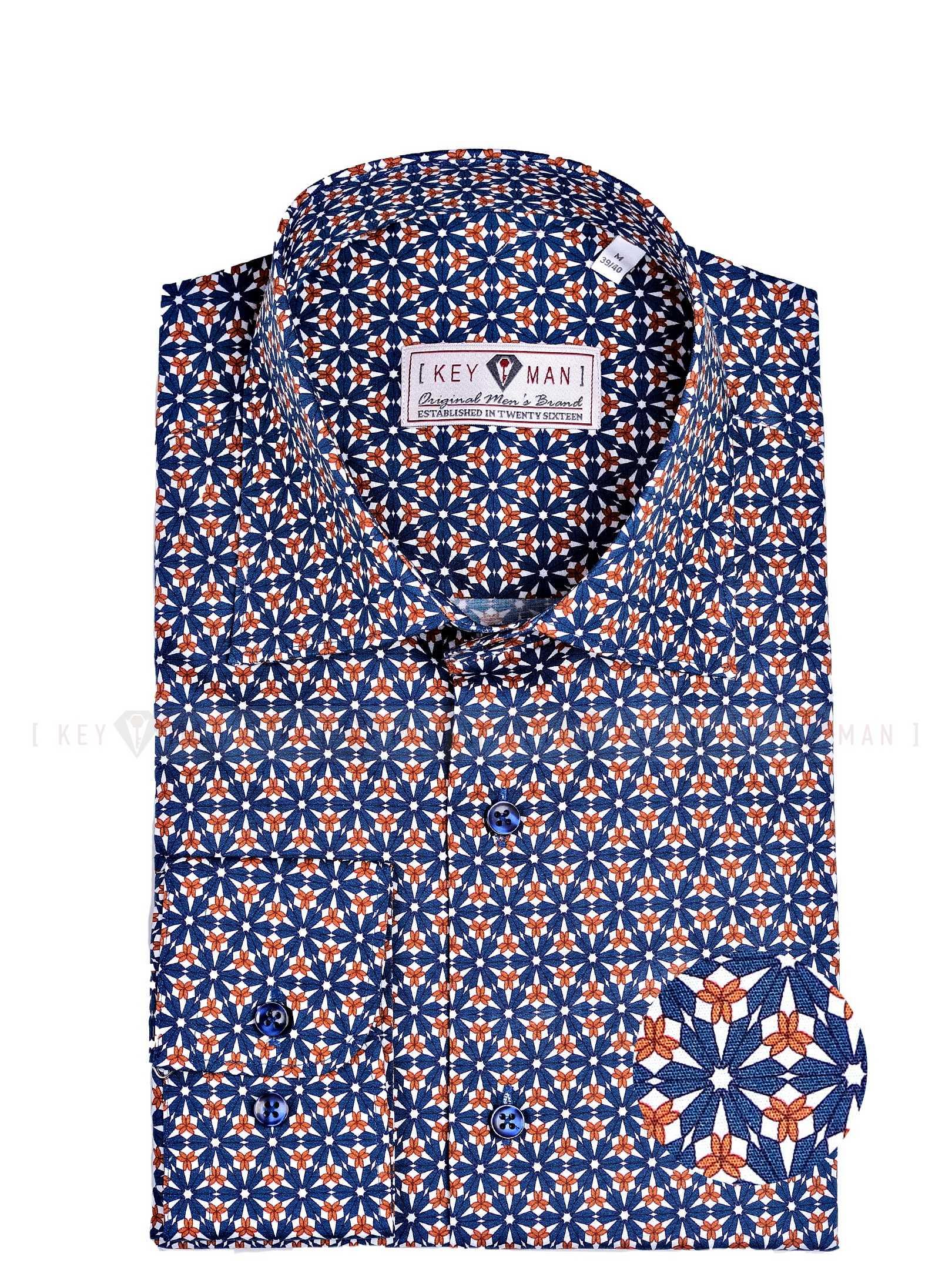 Рубашка мужская в сине-рыжий цветочный узор с лайкрой, классика воротник
