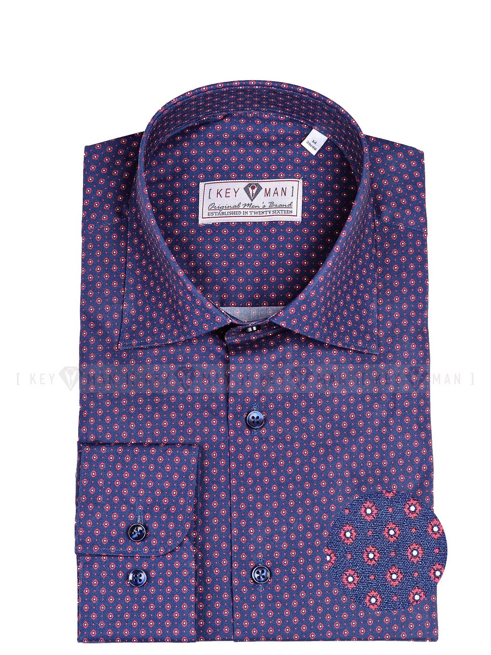 Рубашка мужская темно-синяя в красно-белый узор с лайкрой, классика воротник