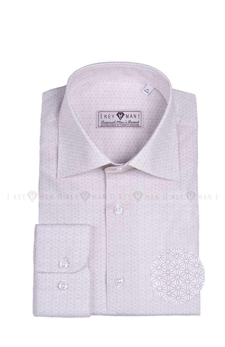Рубашка мужская белая в светло-бежевый цветочный узор с лайкрой, классика воротник