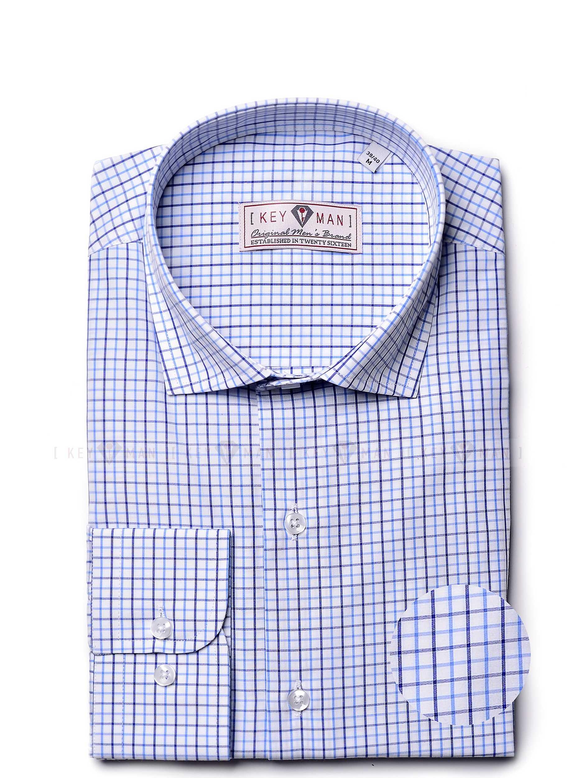 Рубашка мужская в сине-голубую крупную клетку с воротником на пуговицах