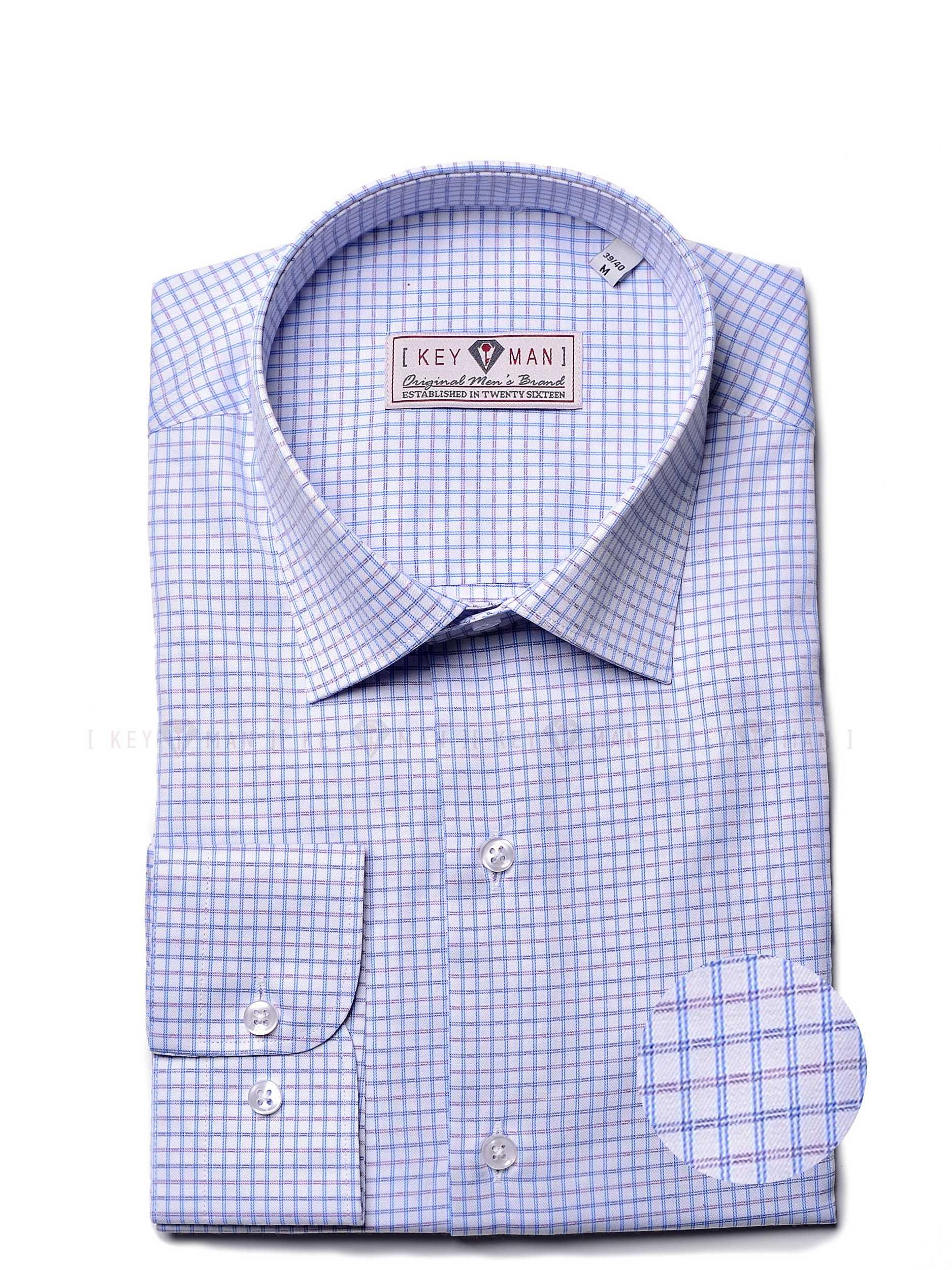 Рубашка мужская в фиолетово-голубую мелкую клетку с классическим воротником