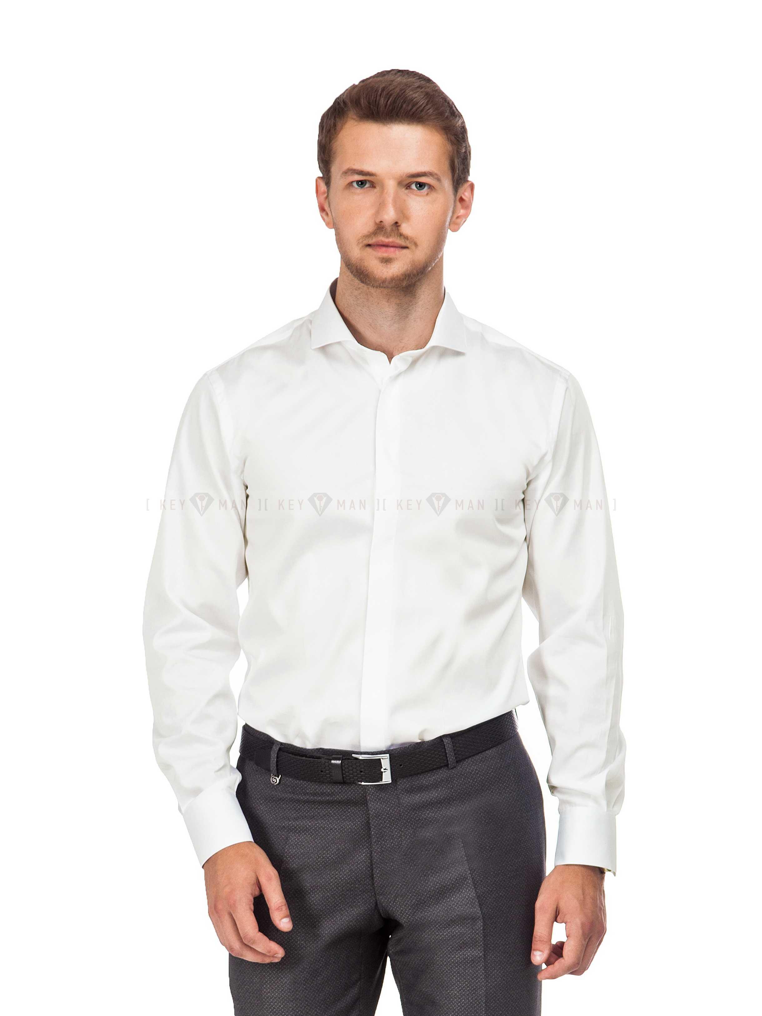 Рубашка мужская айвори сатин с акульим воротником (Cutaway Collar)