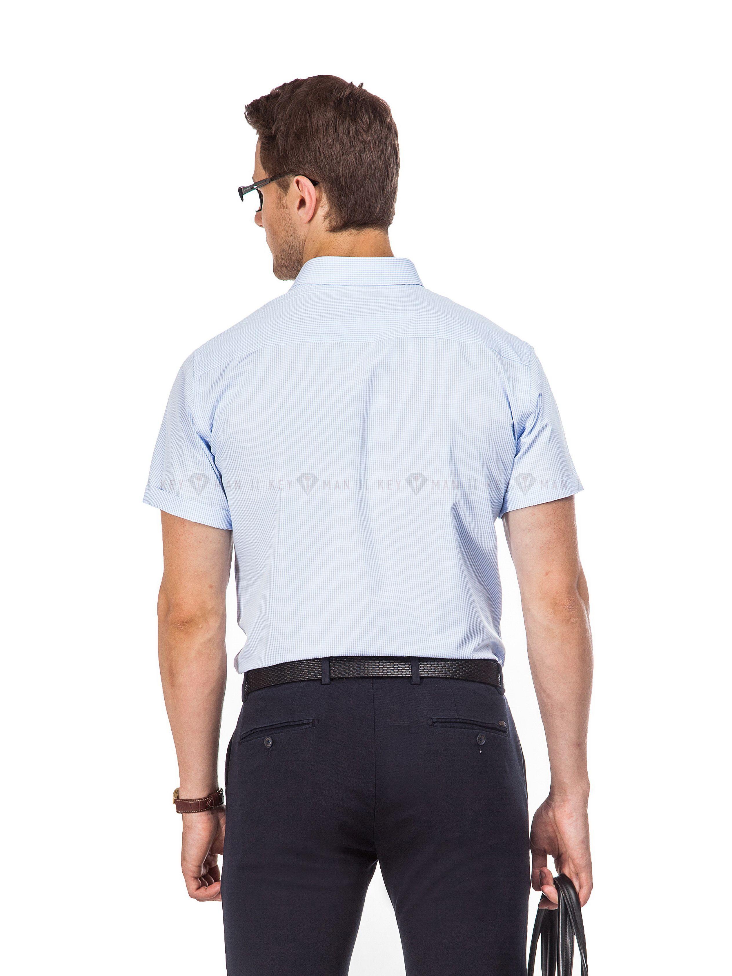 Рубашка мужская голубая в клеточку (короткий рукав)
