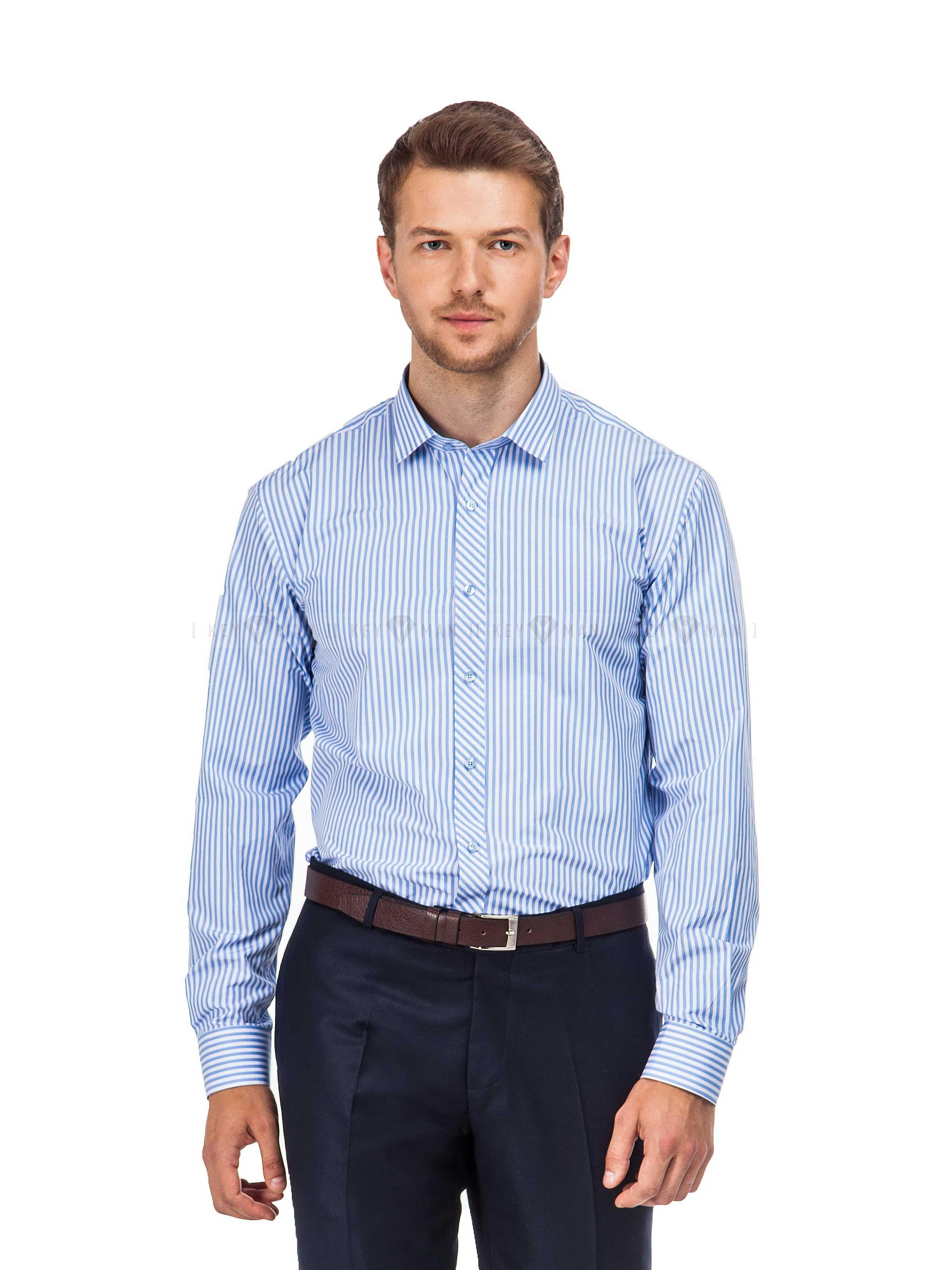 Рубашка мужская в крупную голубую полоску