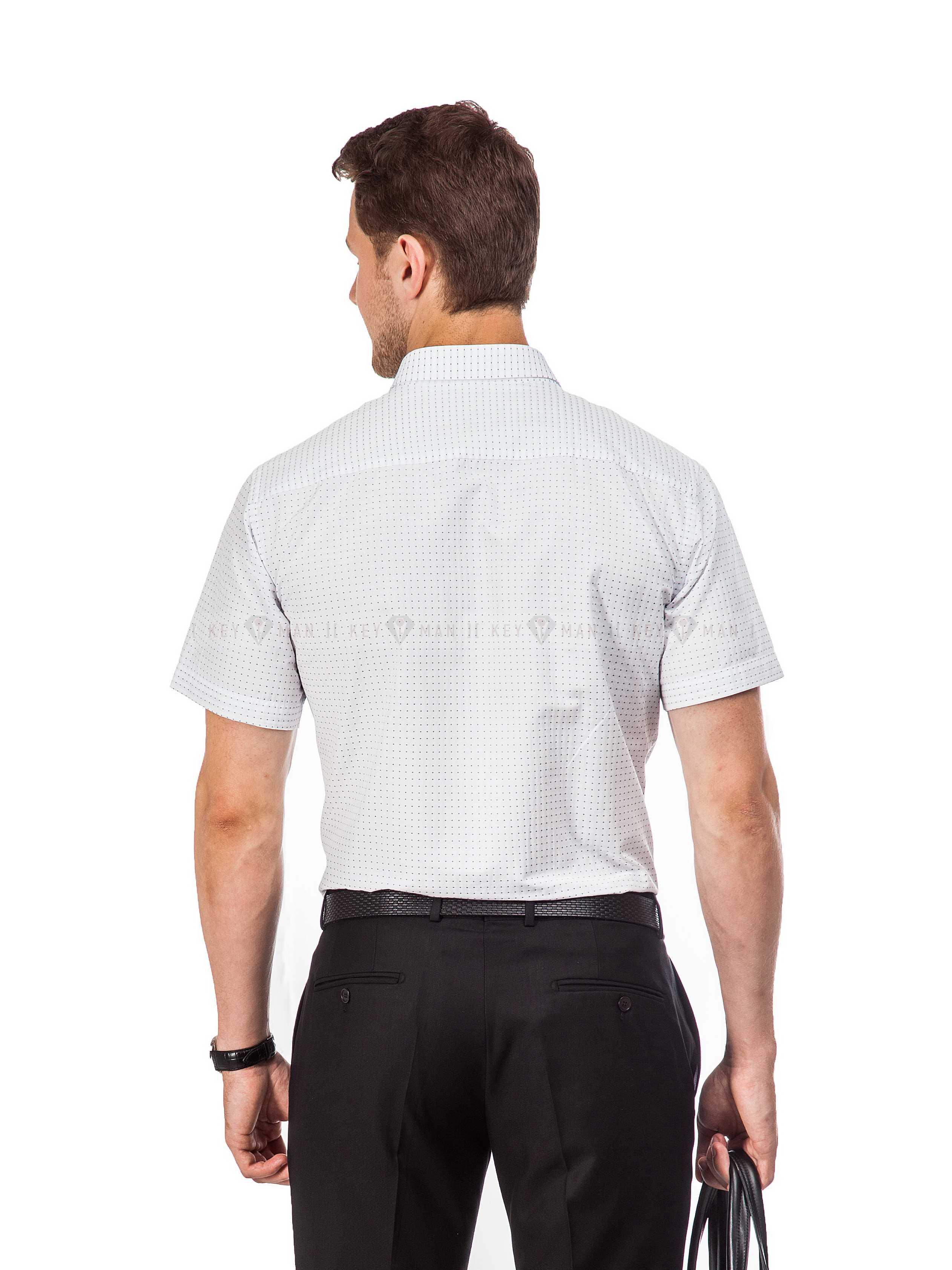 Рубашка мужская белая в синюю точку (короткий рукав)