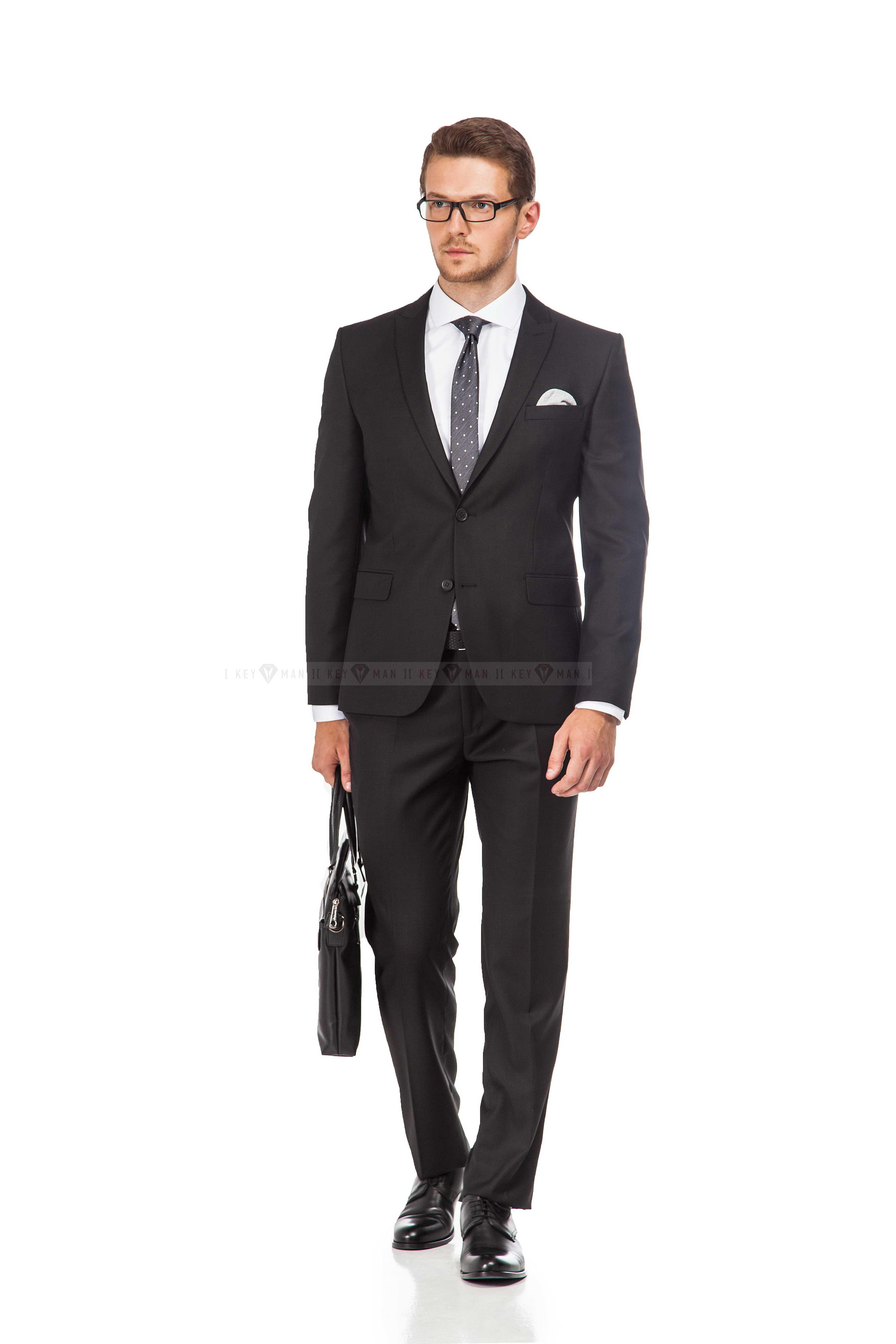 Костюм мужской черный full slim fit (Long)