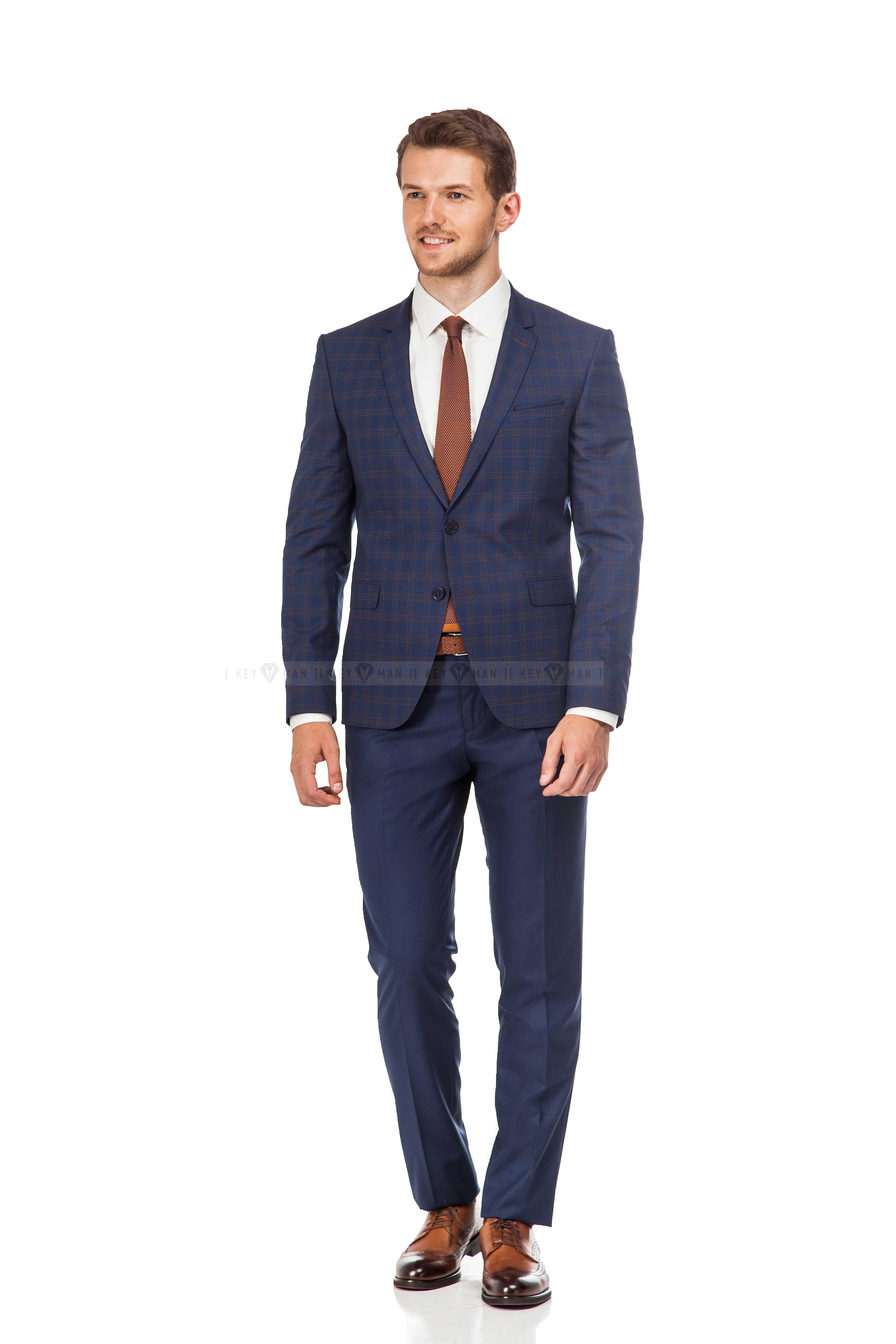 Костюм мужской синий (пиджак в коричневую клетку)